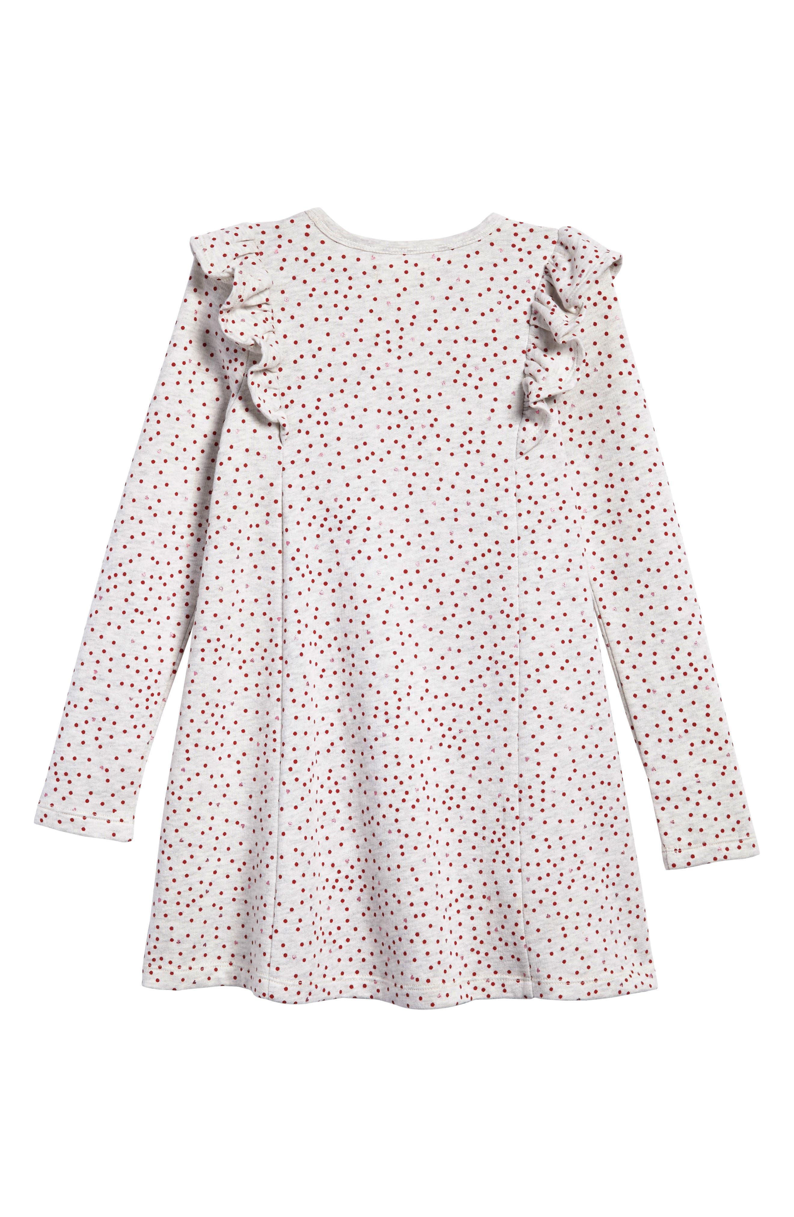 Ruffle Fleece Sweater Dress,                             Alternate thumbnail 2, color,                             IVORY EGRET HEATHER HEARTS