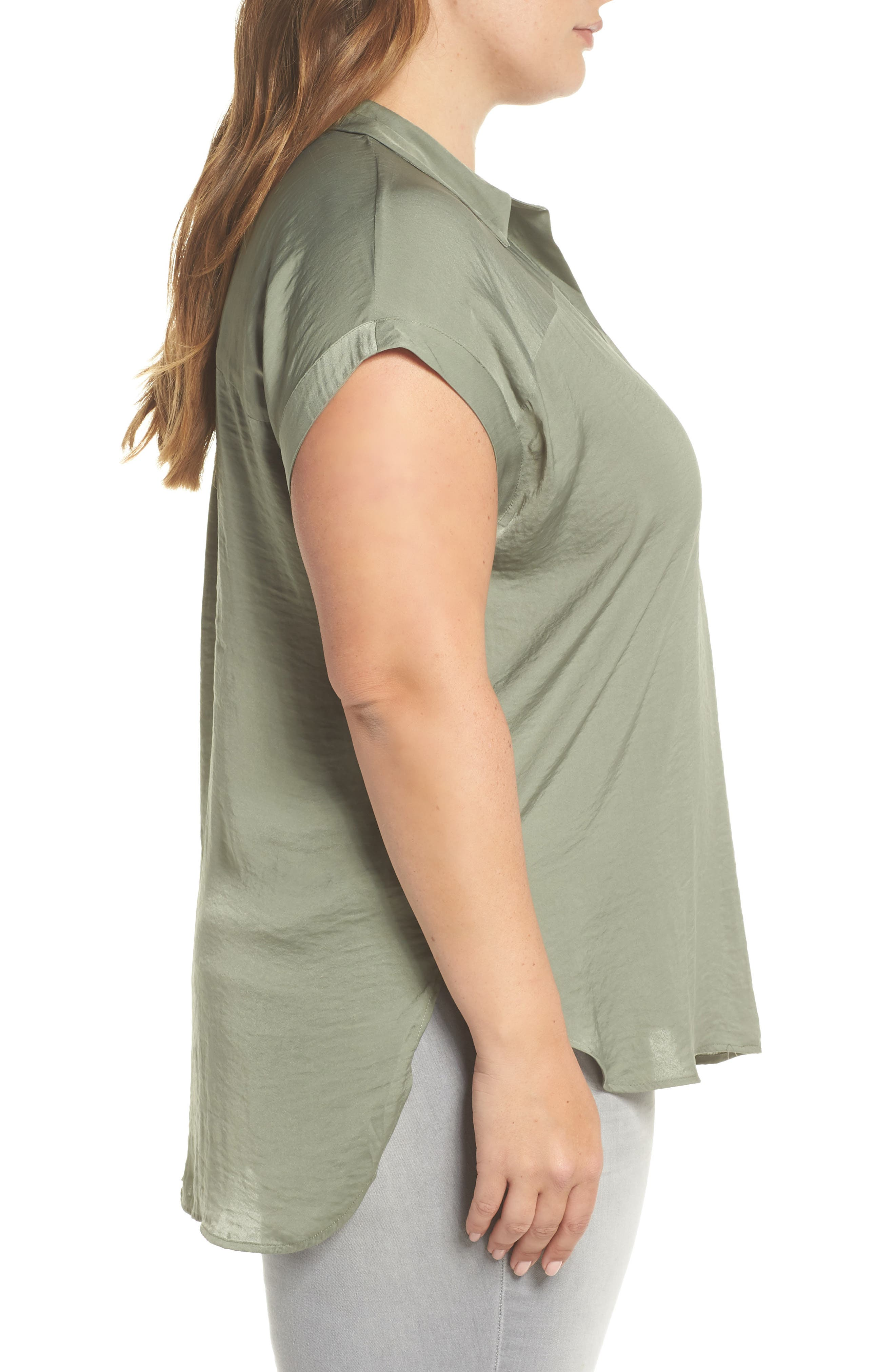 Collared Henley High/Low Top,                             Alternate thumbnail 3, color,                             CAMO GREEN