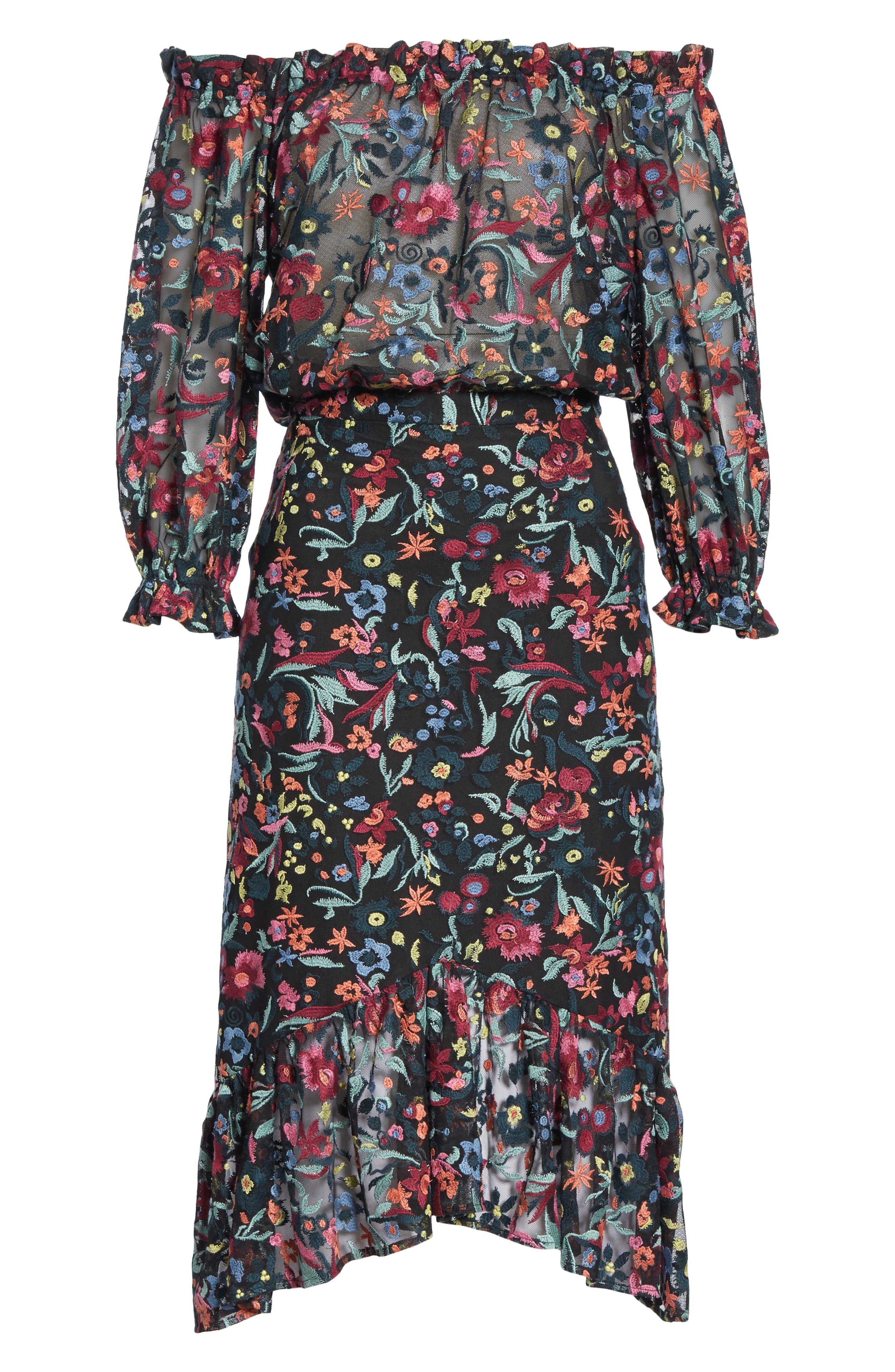 Grace Floral Embroidered Off the Shoulder Tulle Dress,                             Alternate thumbnail 6, color,                             BOUQUET NOIR