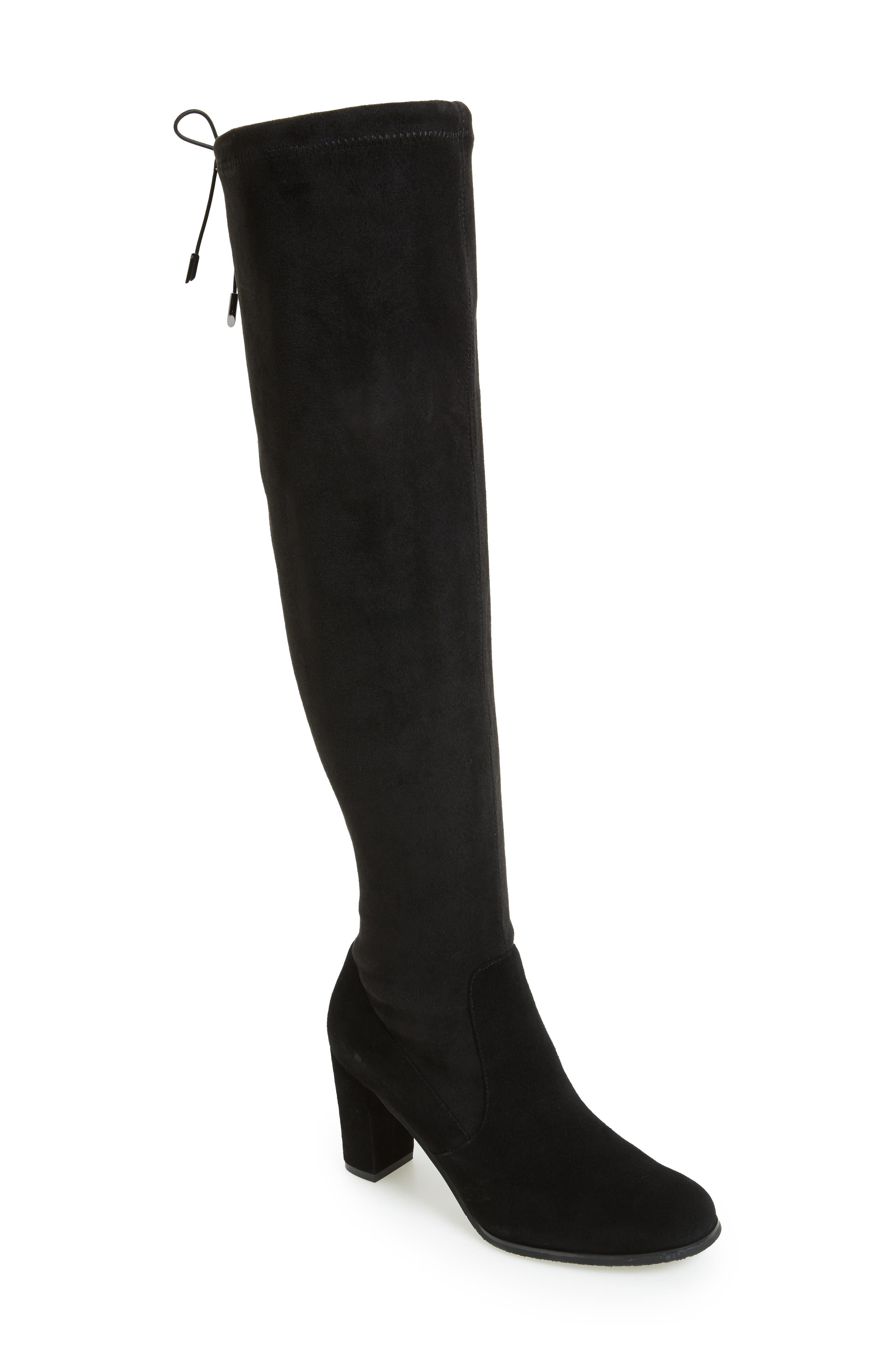 Kali Waterproof Over the Knee Boot,                             Main thumbnail 1, color,                             BLACK SUEDE