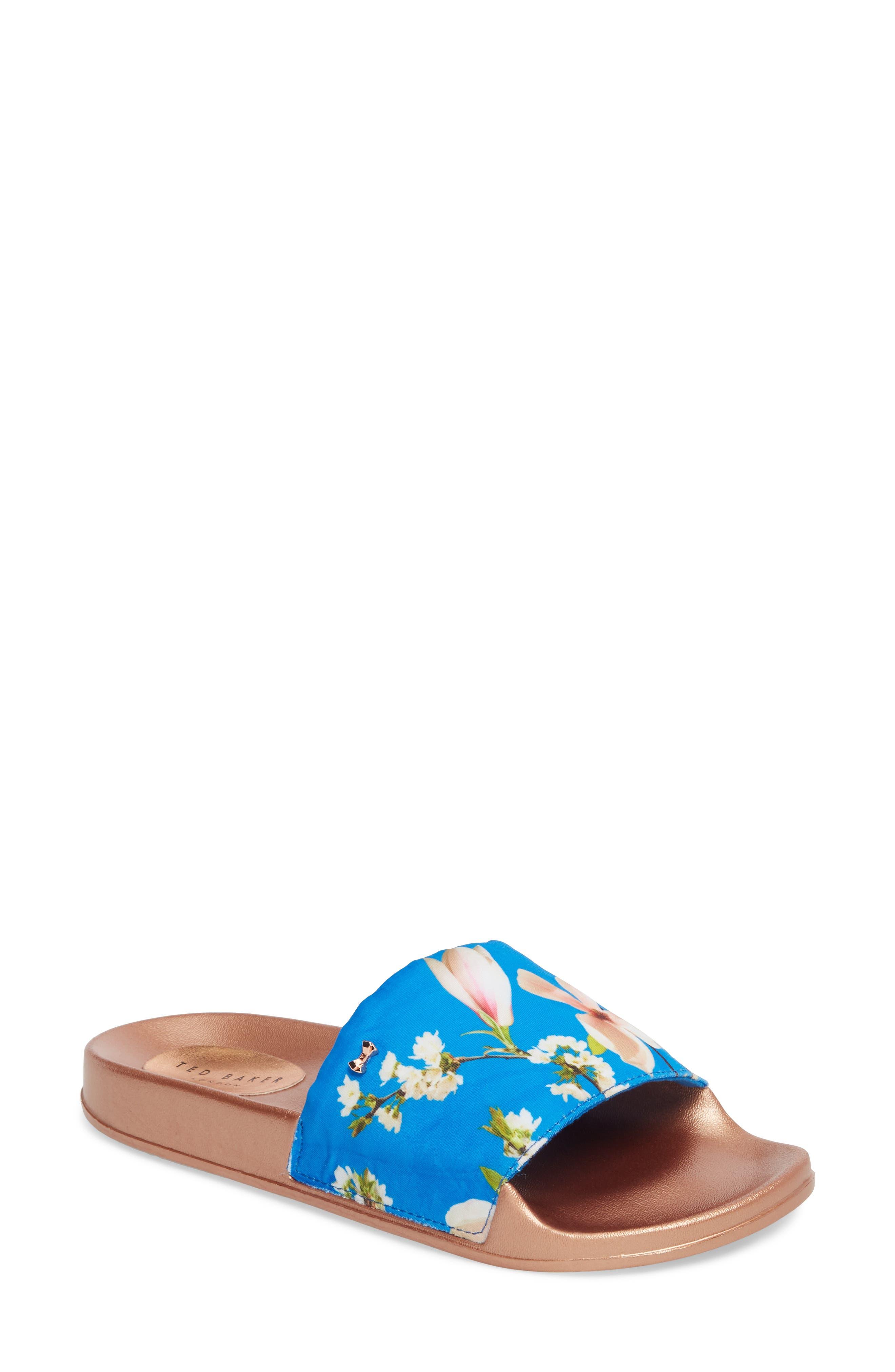 Avelinn Slide Sandal,                             Main thumbnail 1, color,                             BLUE FABRIC
