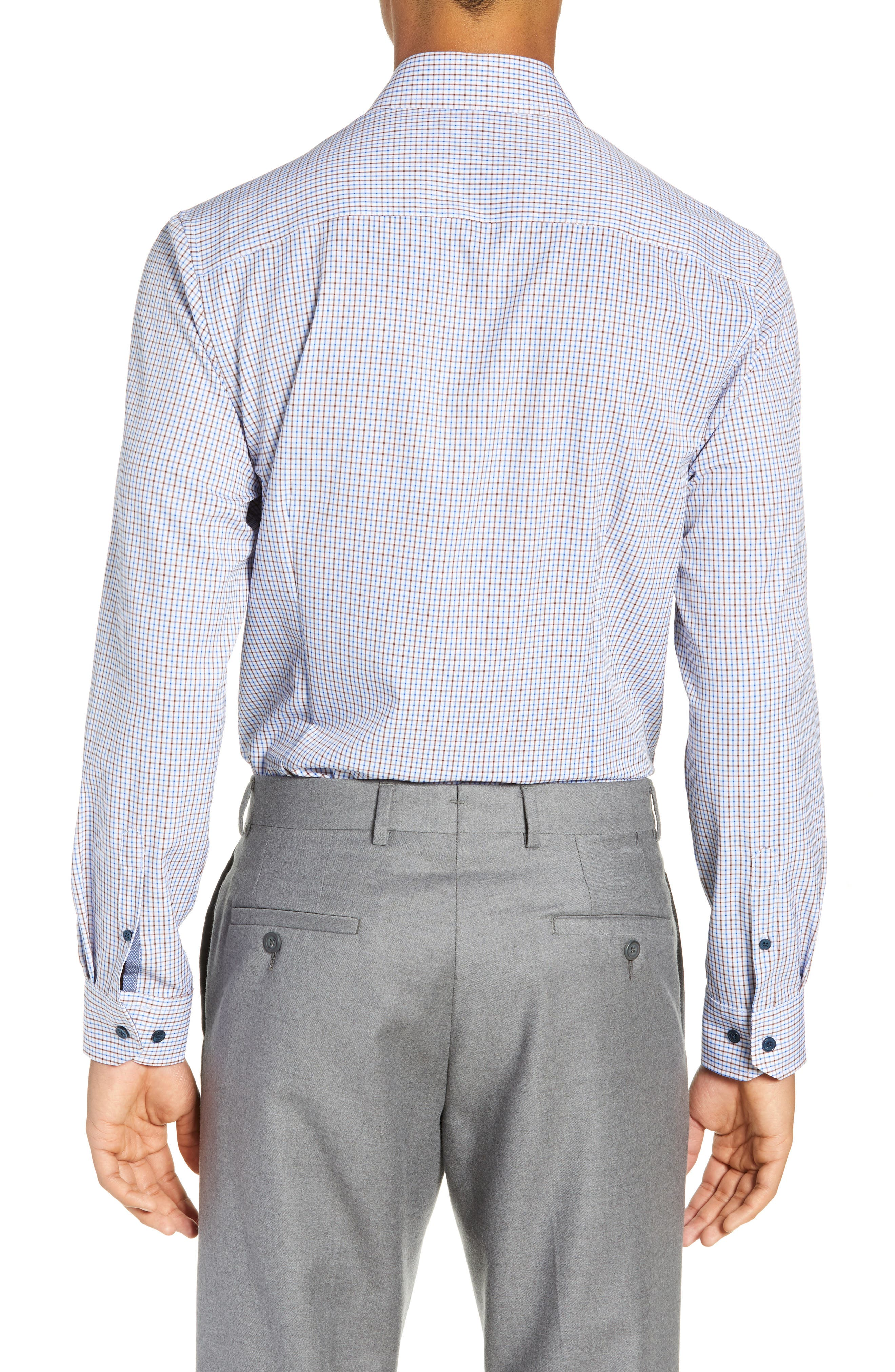 Trim Fit 4-Way Stretch Check Dress Shirt,                             Alternate thumbnail 3, color,                             BLUE