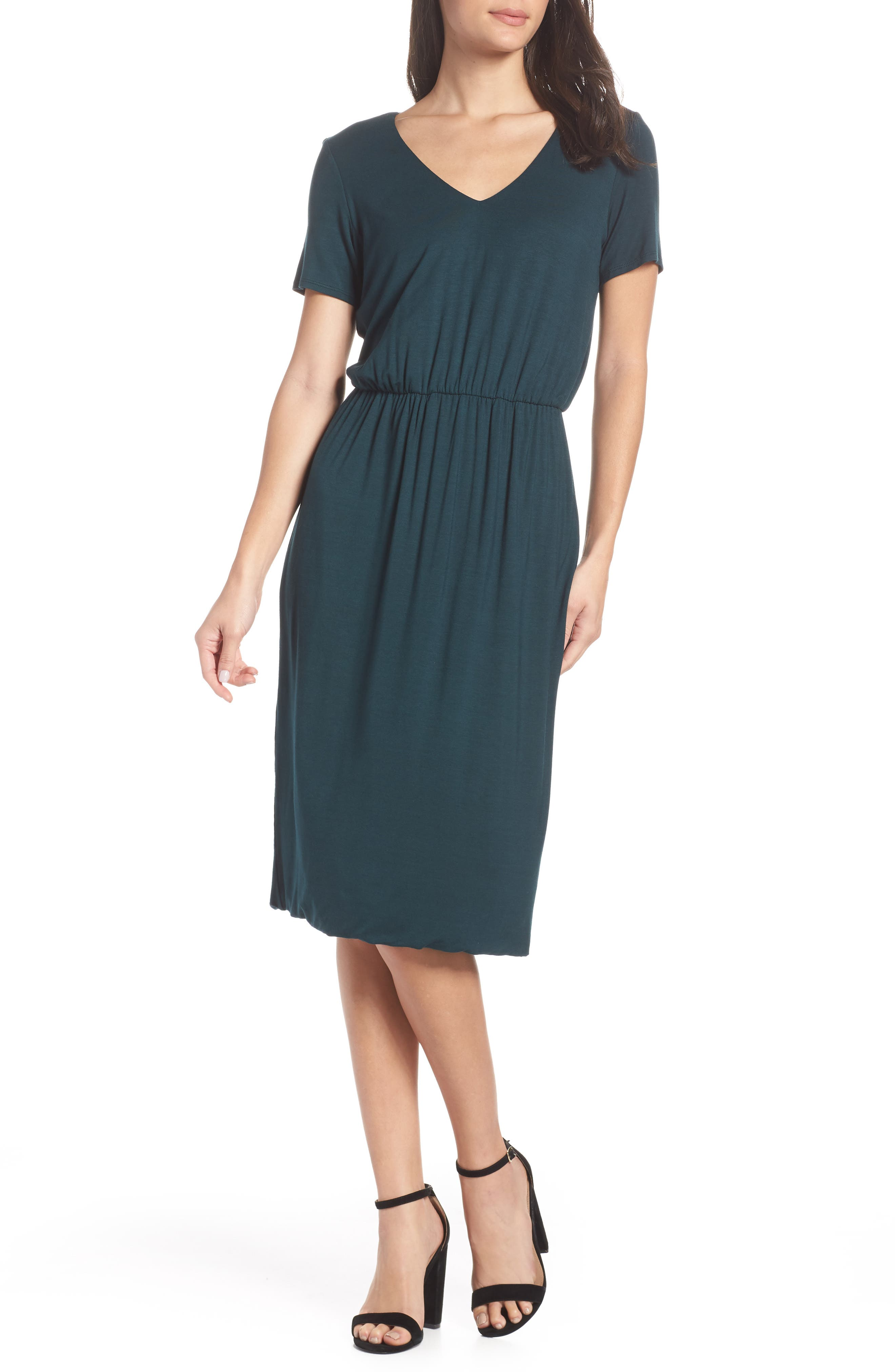 CHARLES HENRY Bloused Knit Dress in Pine