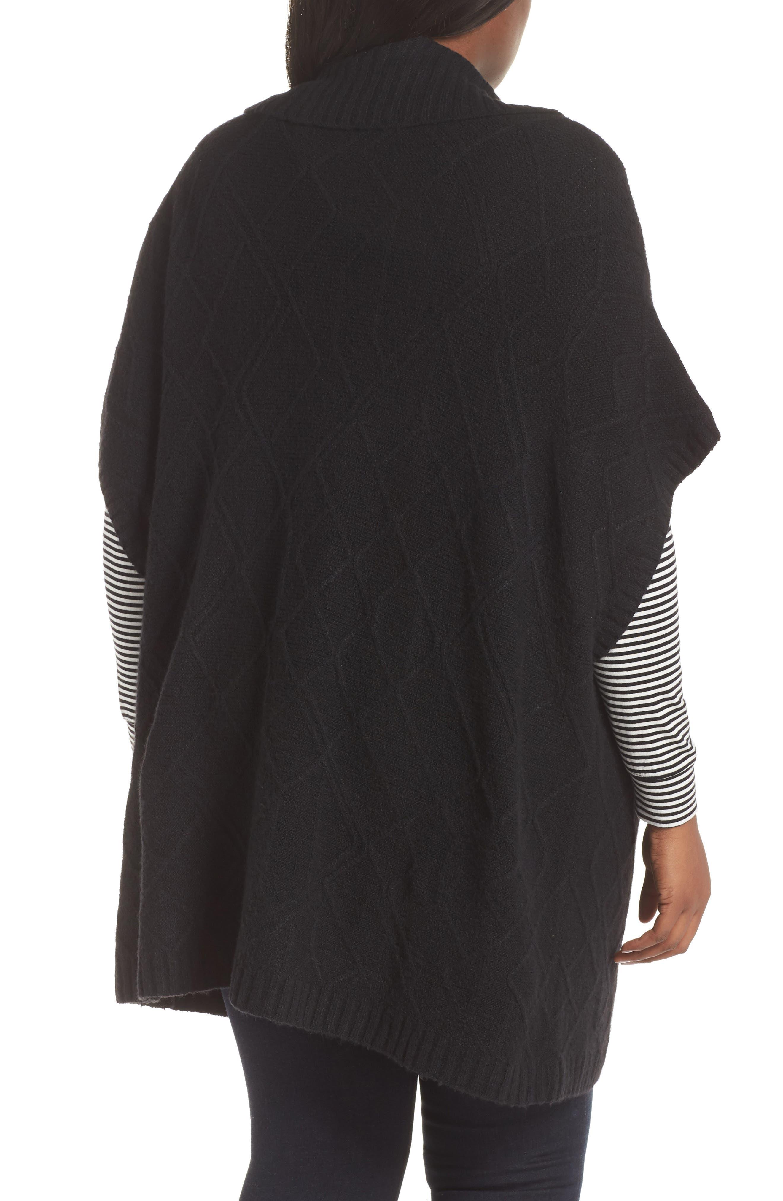 Poncho Sweater,                             Alternate thumbnail 2, color,                             BLACK