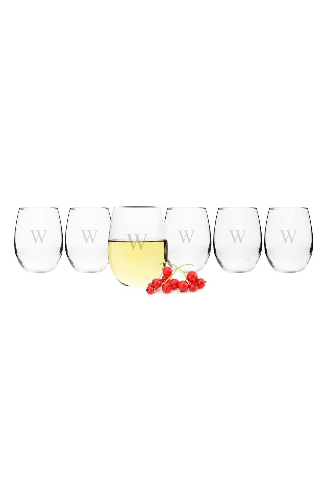 Set of 6 Monogram Stemless Wine Glasses,                             Alternate thumbnail 2, color,                             W