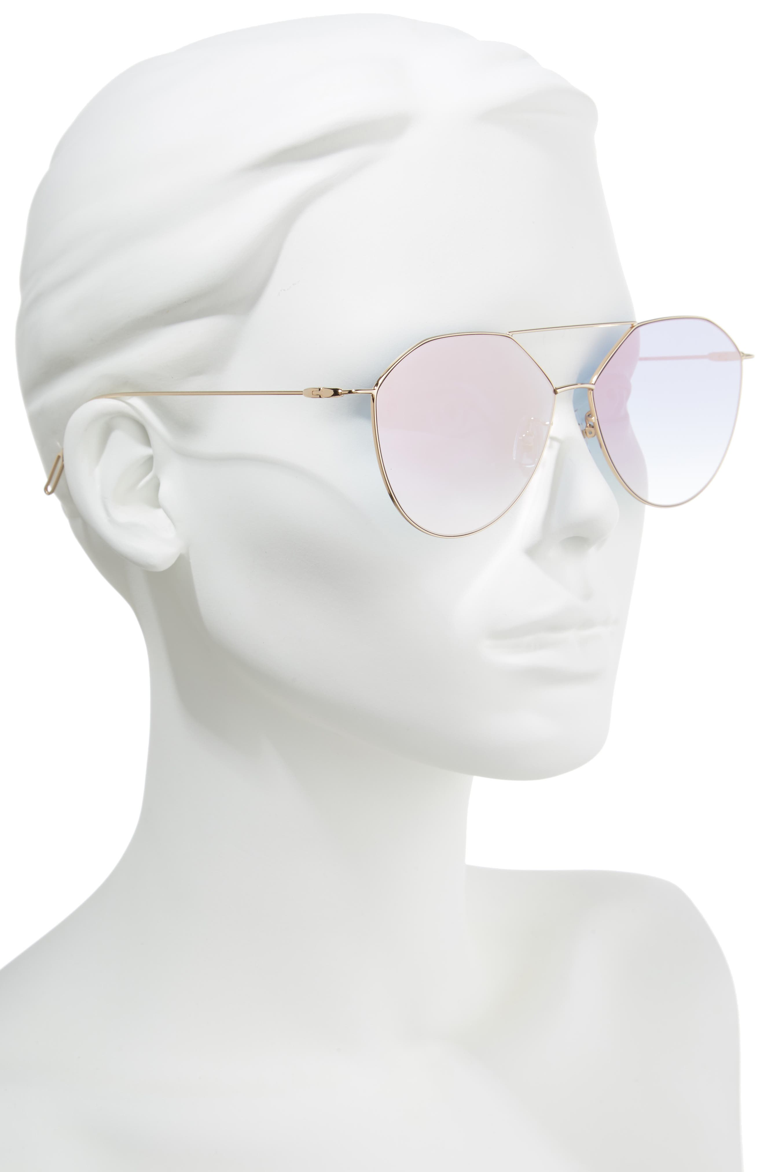 55mm Metal Aviator Sunglasses,                             Alternate thumbnail 2, color,                             GOLD /PINK MIRROR