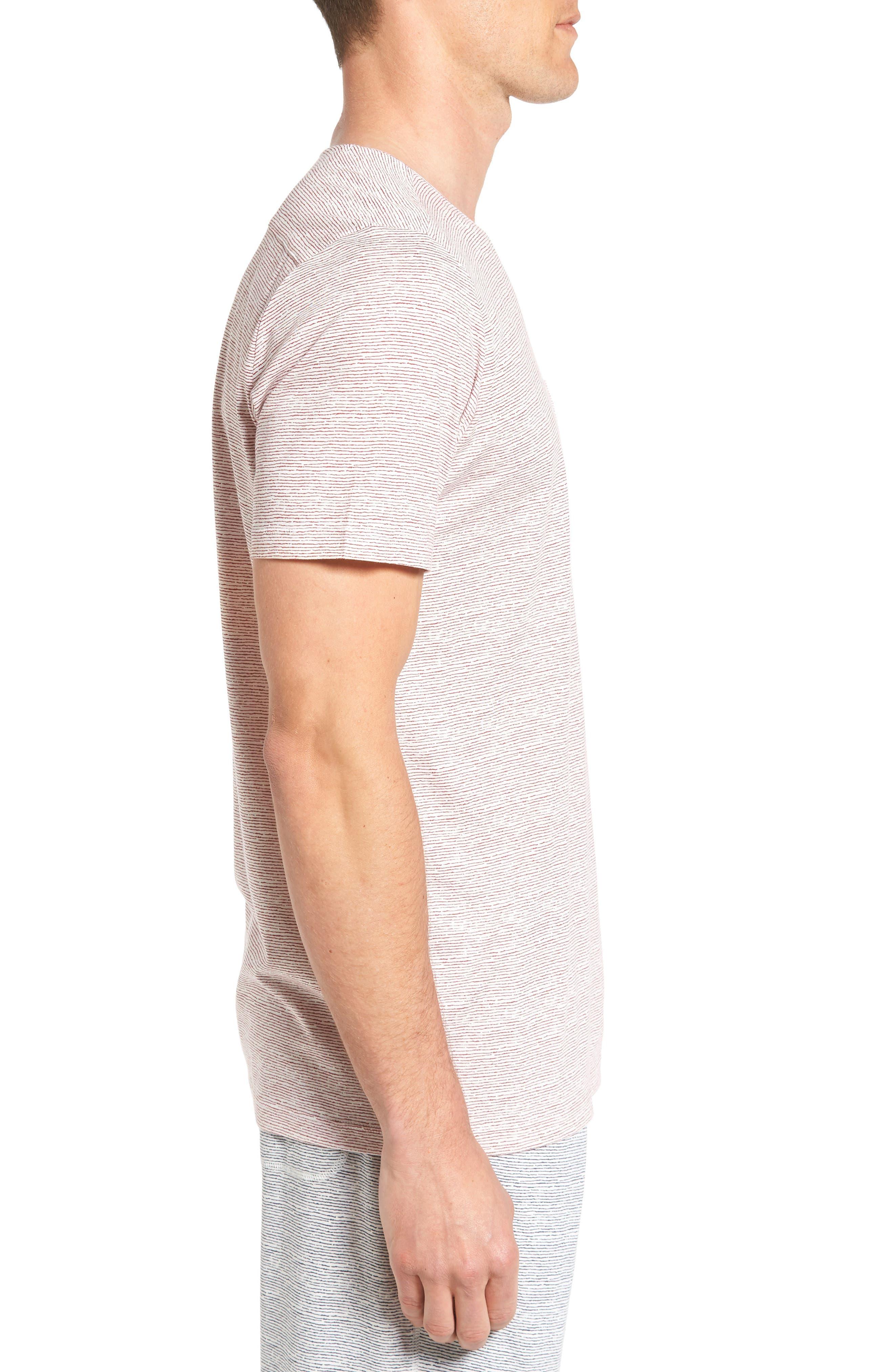 Feeder Stripe Pima Cotton & Modal V-Neck T-Shirt,                             Alternate thumbnail 9, color,
