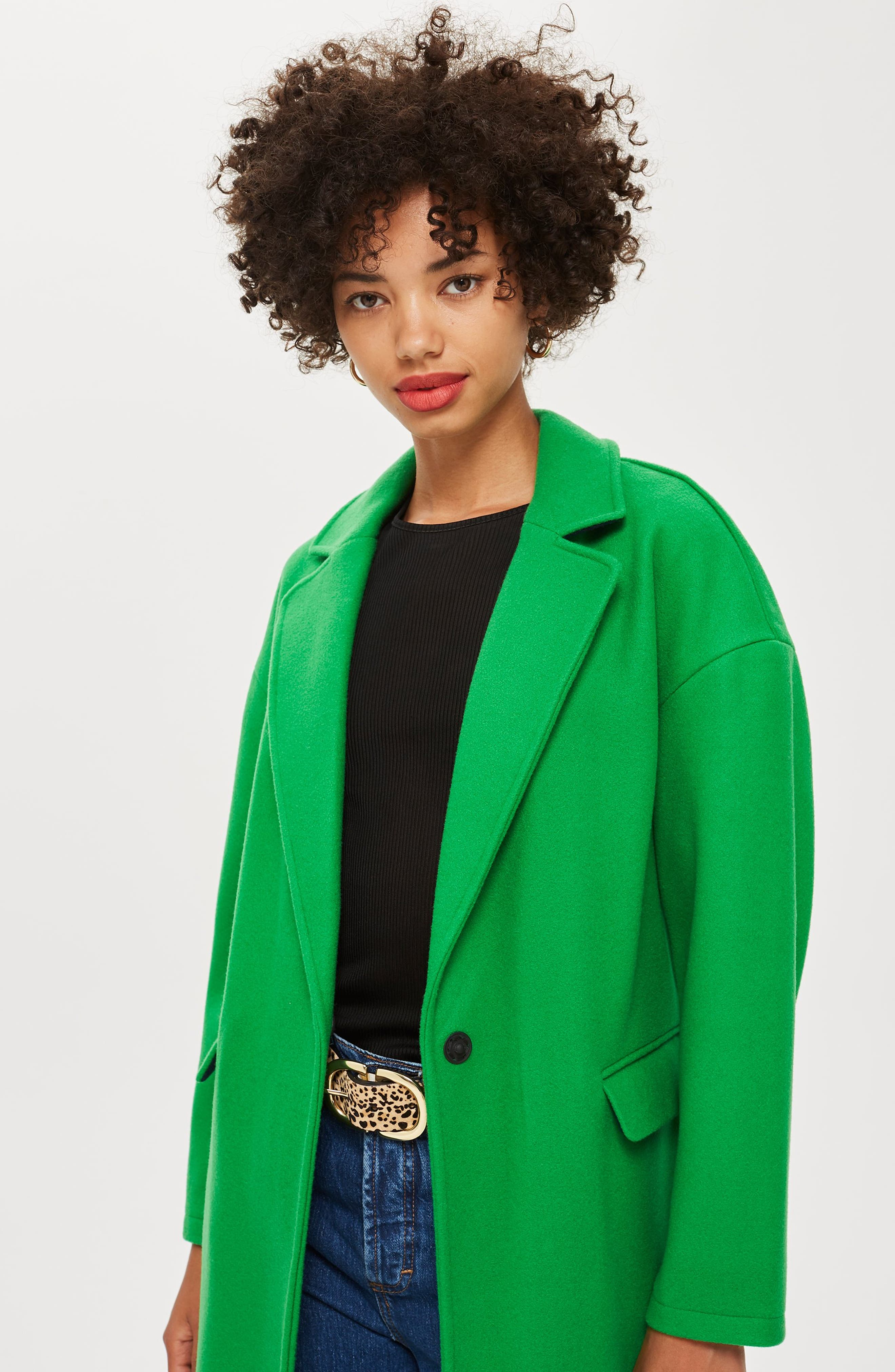 Lily Knit Back Midi Coat,                             Alternate thumbnail 6, color,                             BRIGHT GREEN