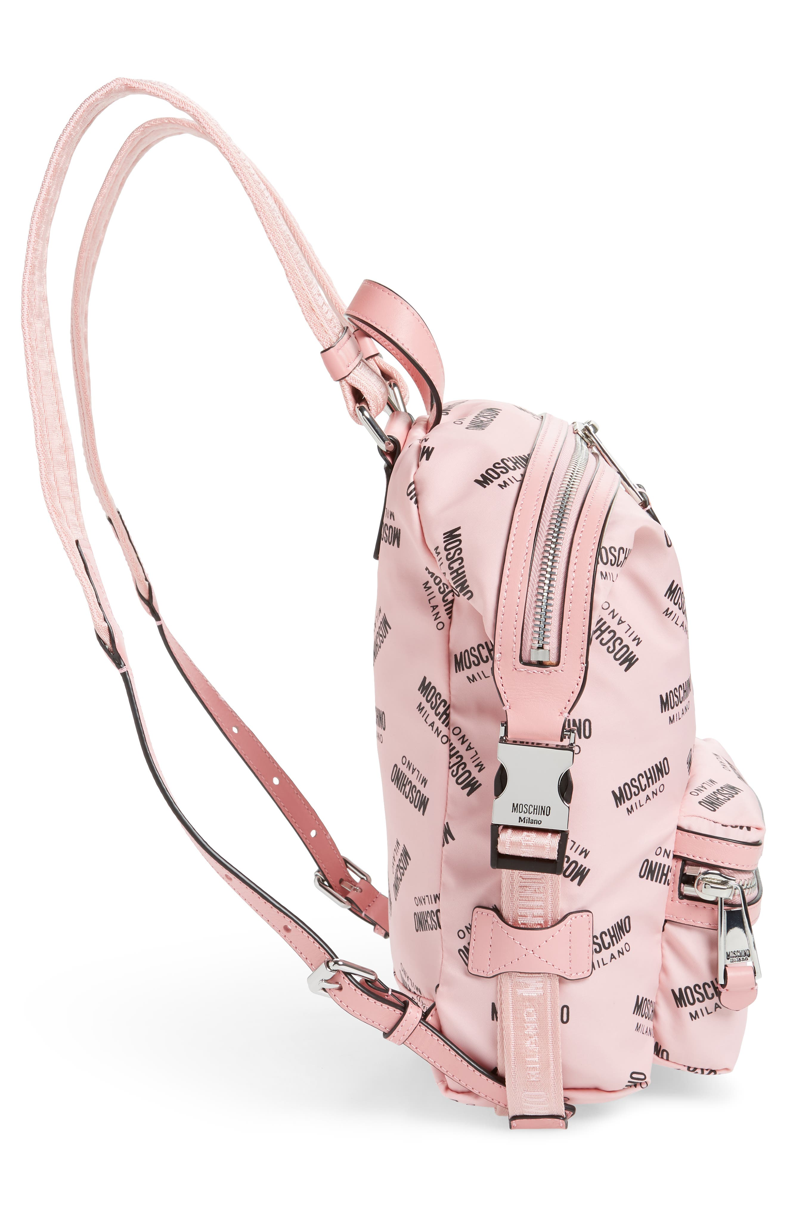MOSCHINO,                             Small Logo Backpack,                             Alternate thumbnail 5, color,                             PINK