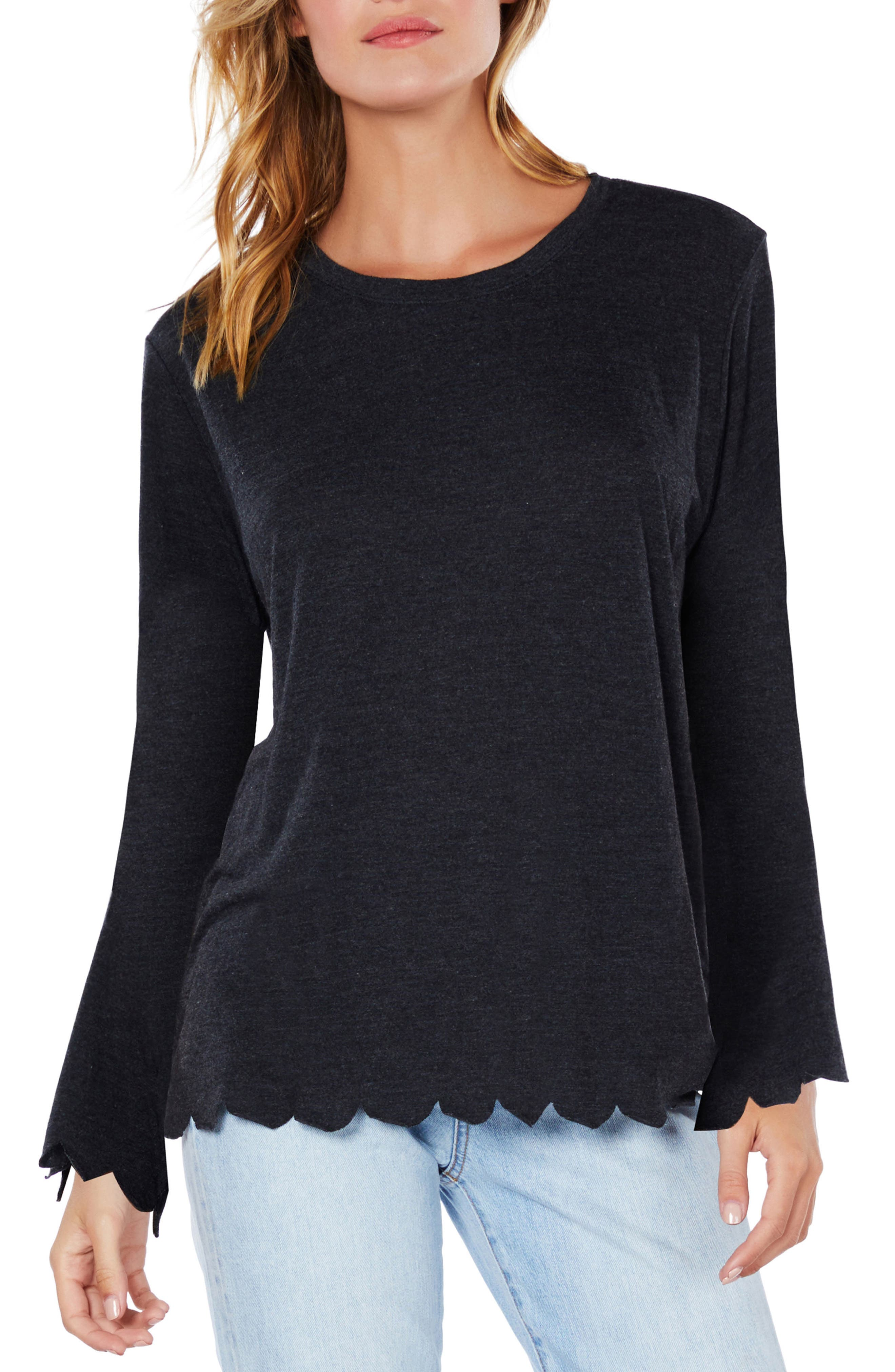 Scallop Trim Jersey Tee,                             Main thumbnail 1, color,                             003