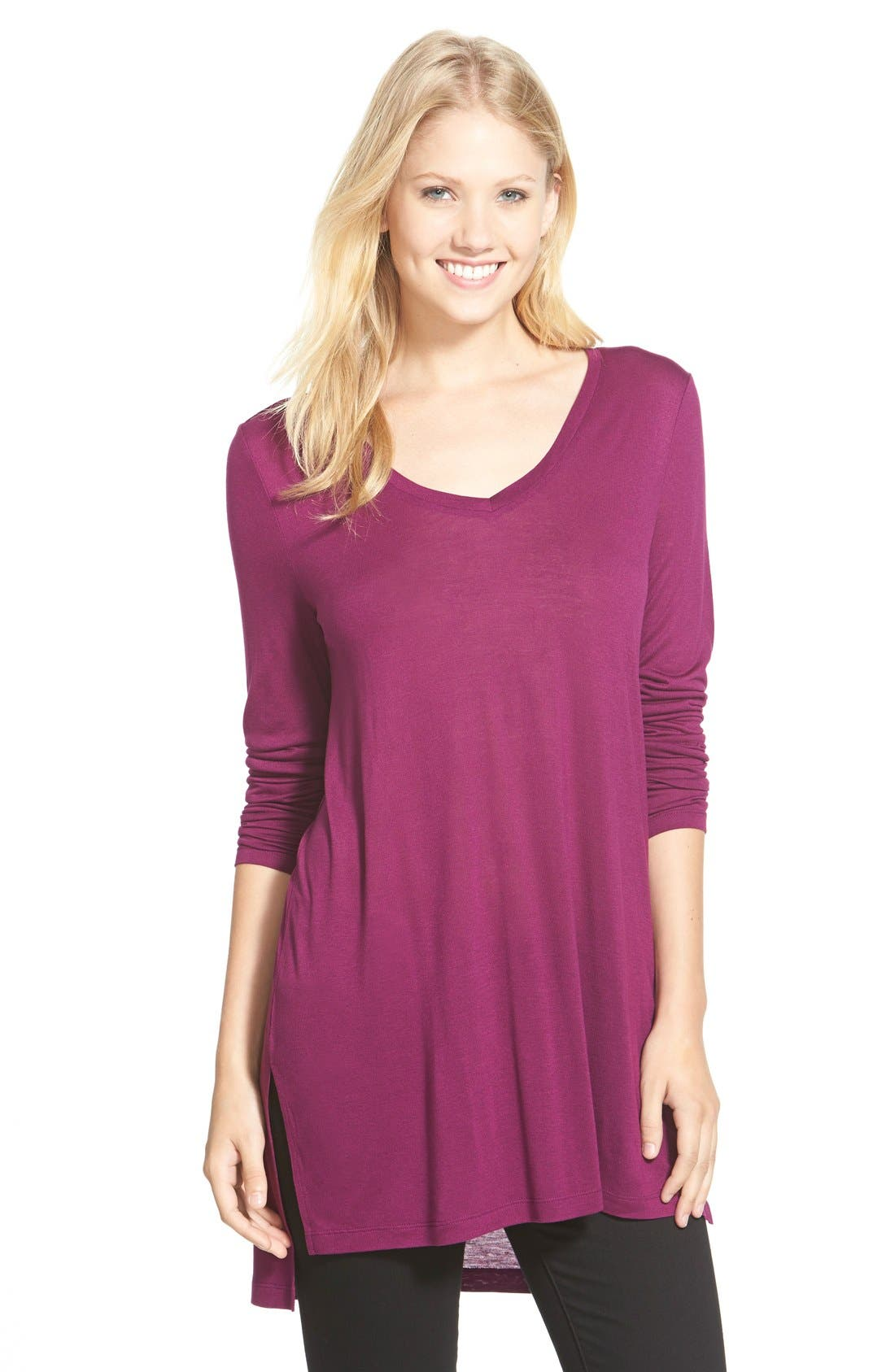 Long Sleeve Lightweight Tunic,                             Main thumbnail 8, color,