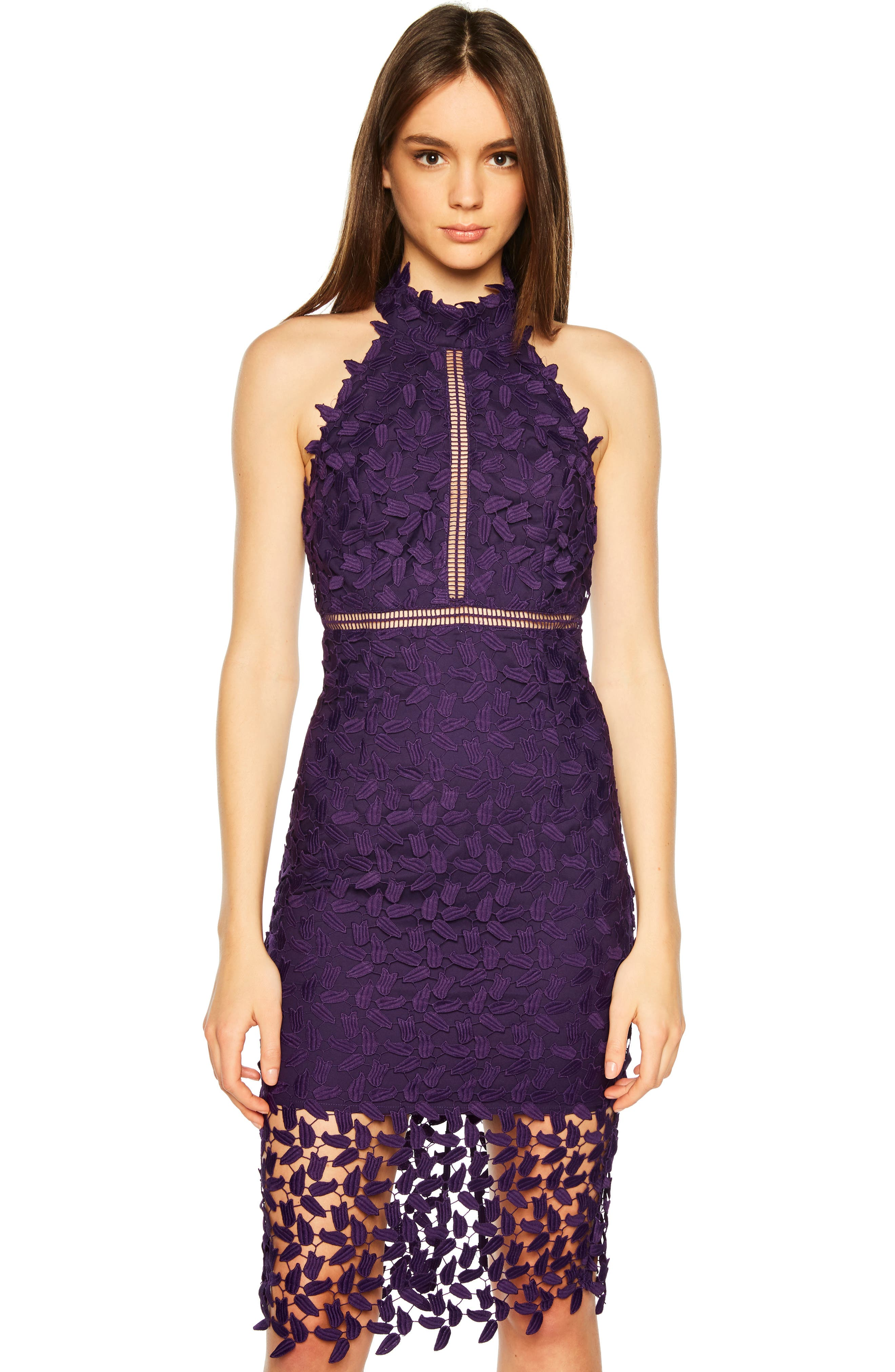 Gemma Halter Lace Sheath Dress,                             Alternate thumbnail 6, color,                             DARK PURPLE