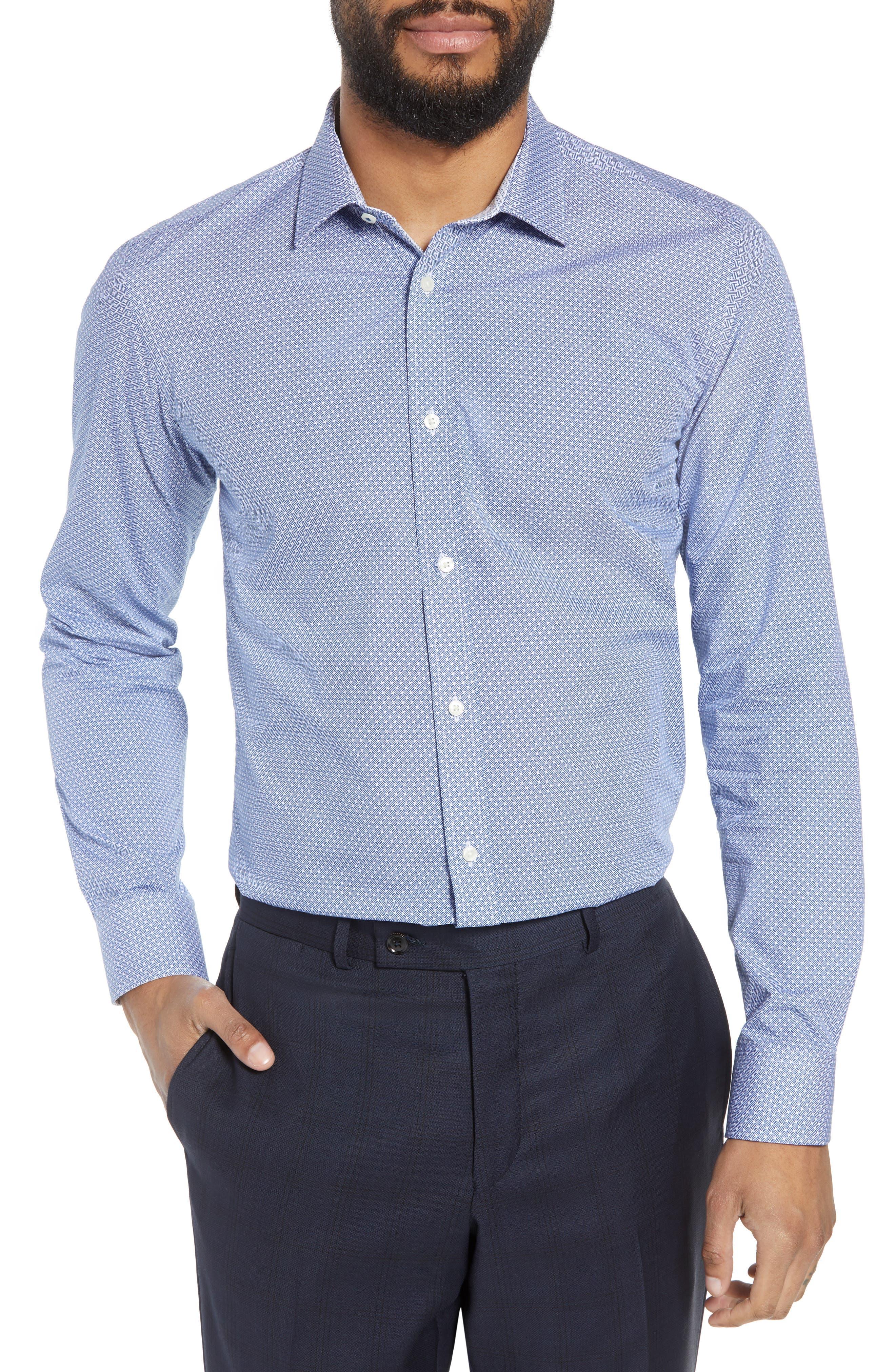 Rugber Slim Fit Print Dress Shirt,                             Main thumbnail 1, color,                             BLUE