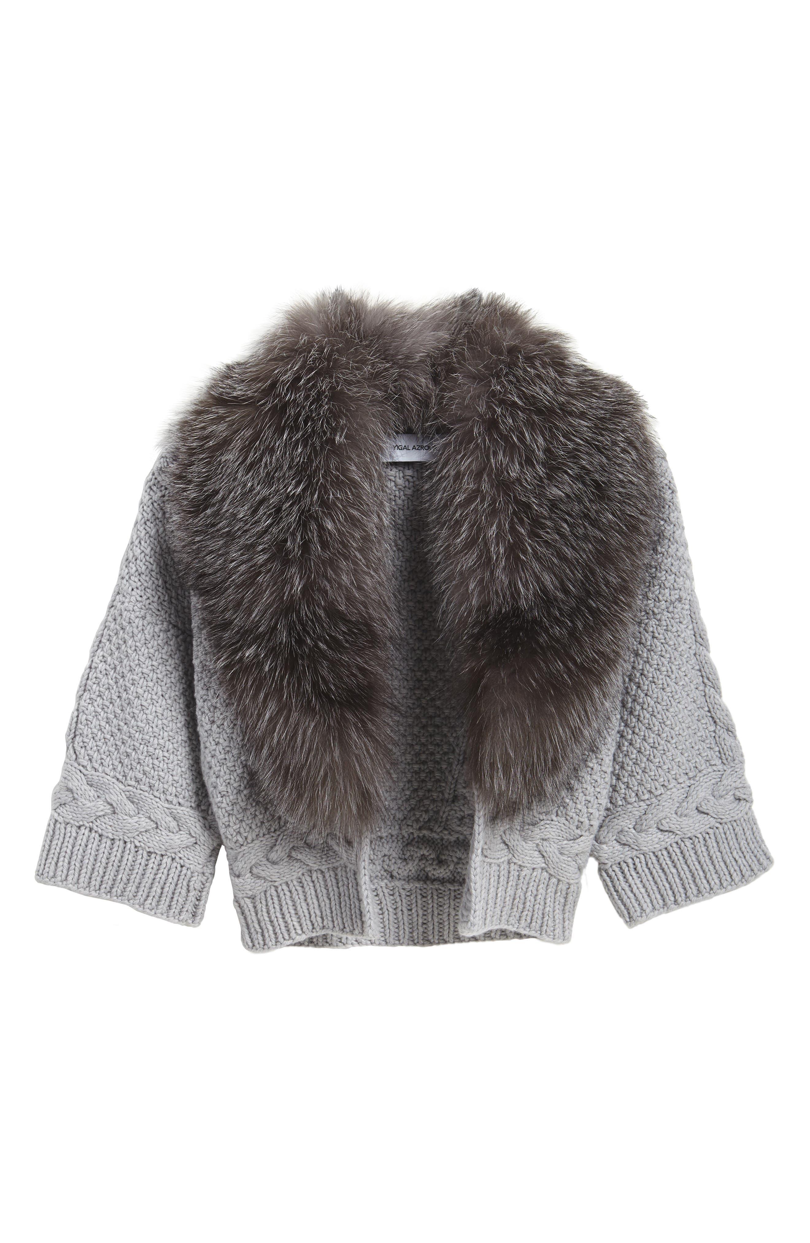 Merino Wool & Cashmere Knit Bolero with Removable Genuine Fox Fur Collar,                             Alternate thumbnail 5, color,                             087