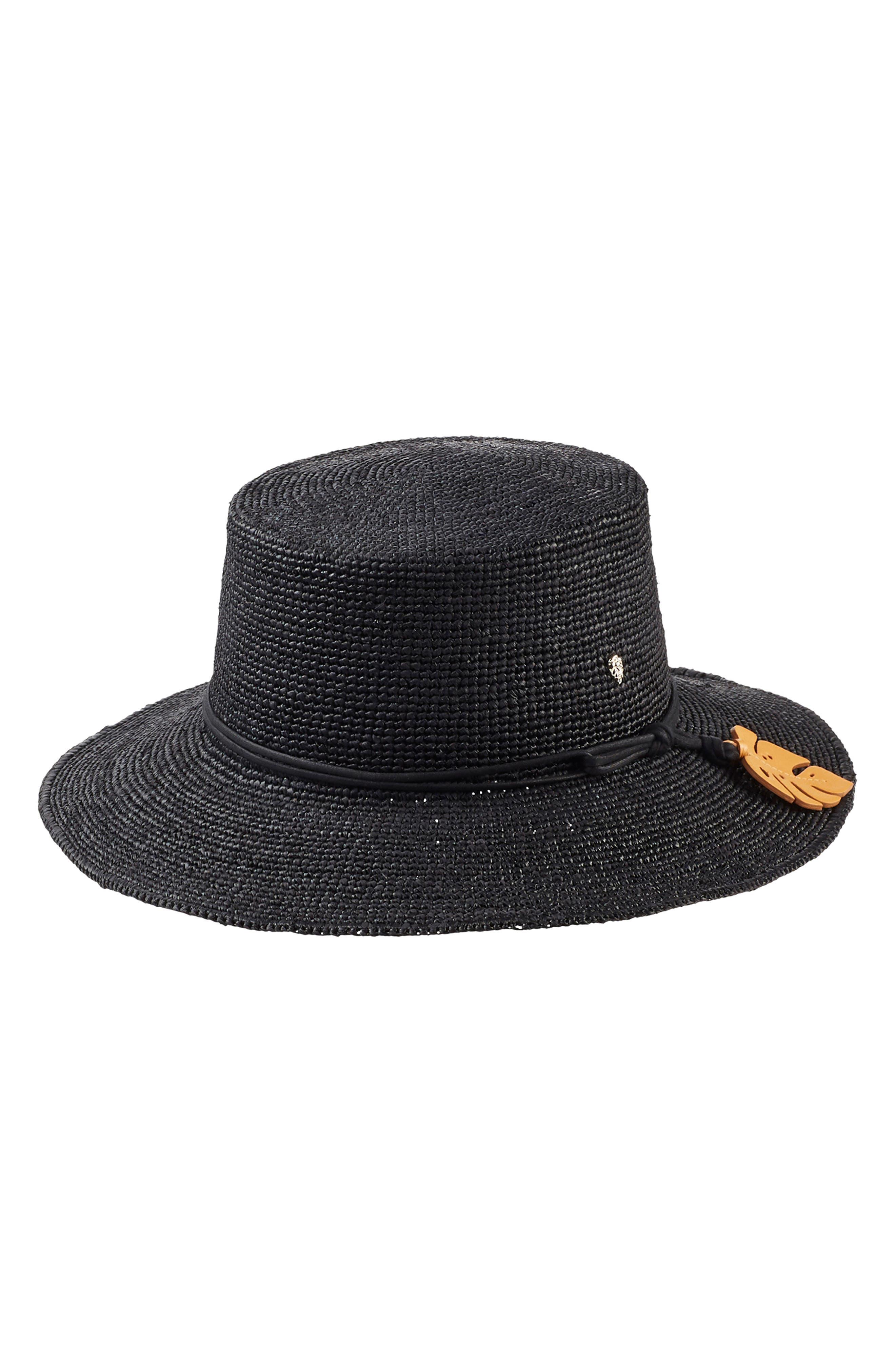 Tapered Brim Raffia Hat, Main, color, CHARCOAL/ CONGO YELLOW