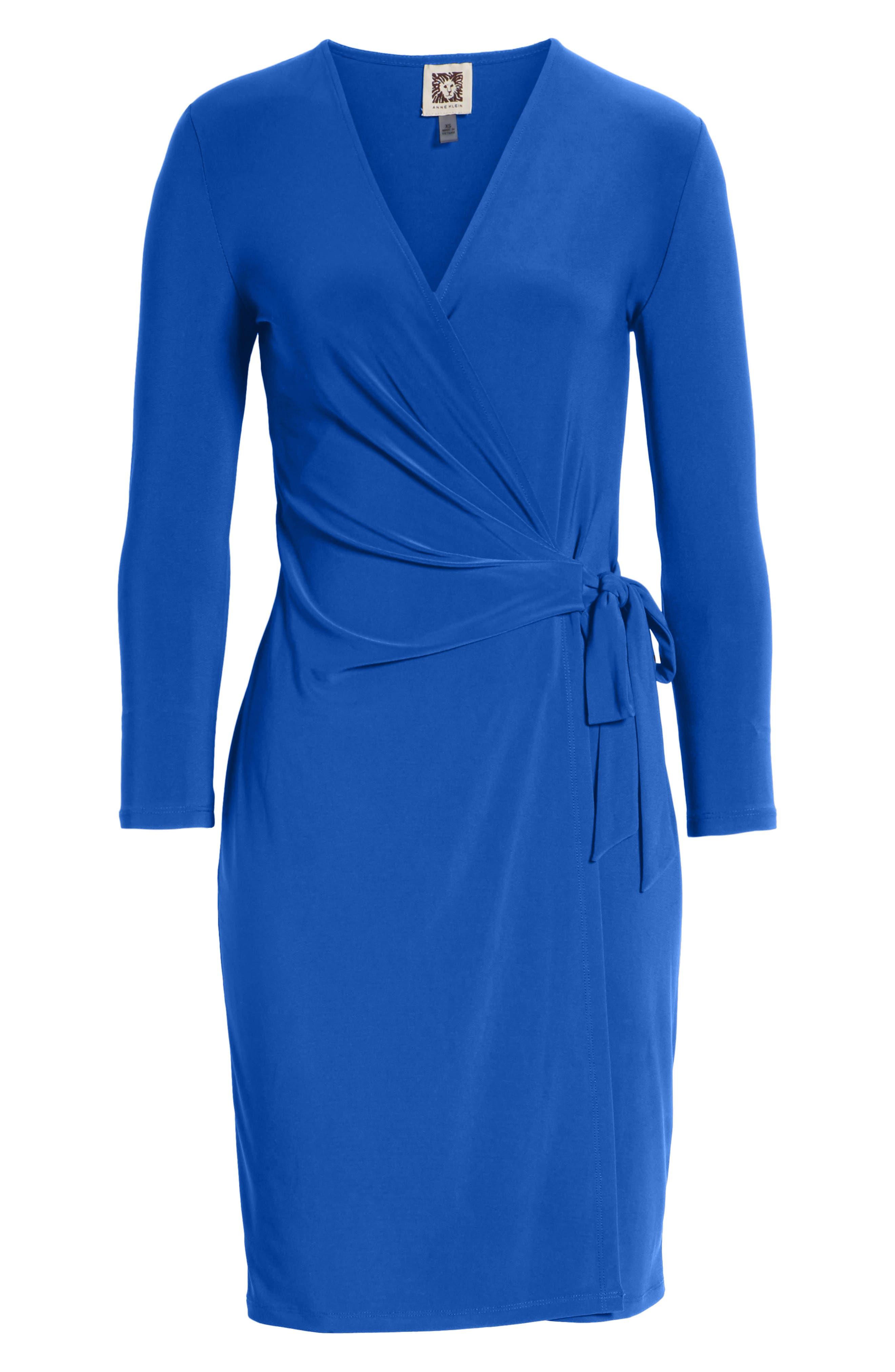 Faux Wrap Dress,                             Alternate thumbnail 8, color,                             CEZANNE BLUE