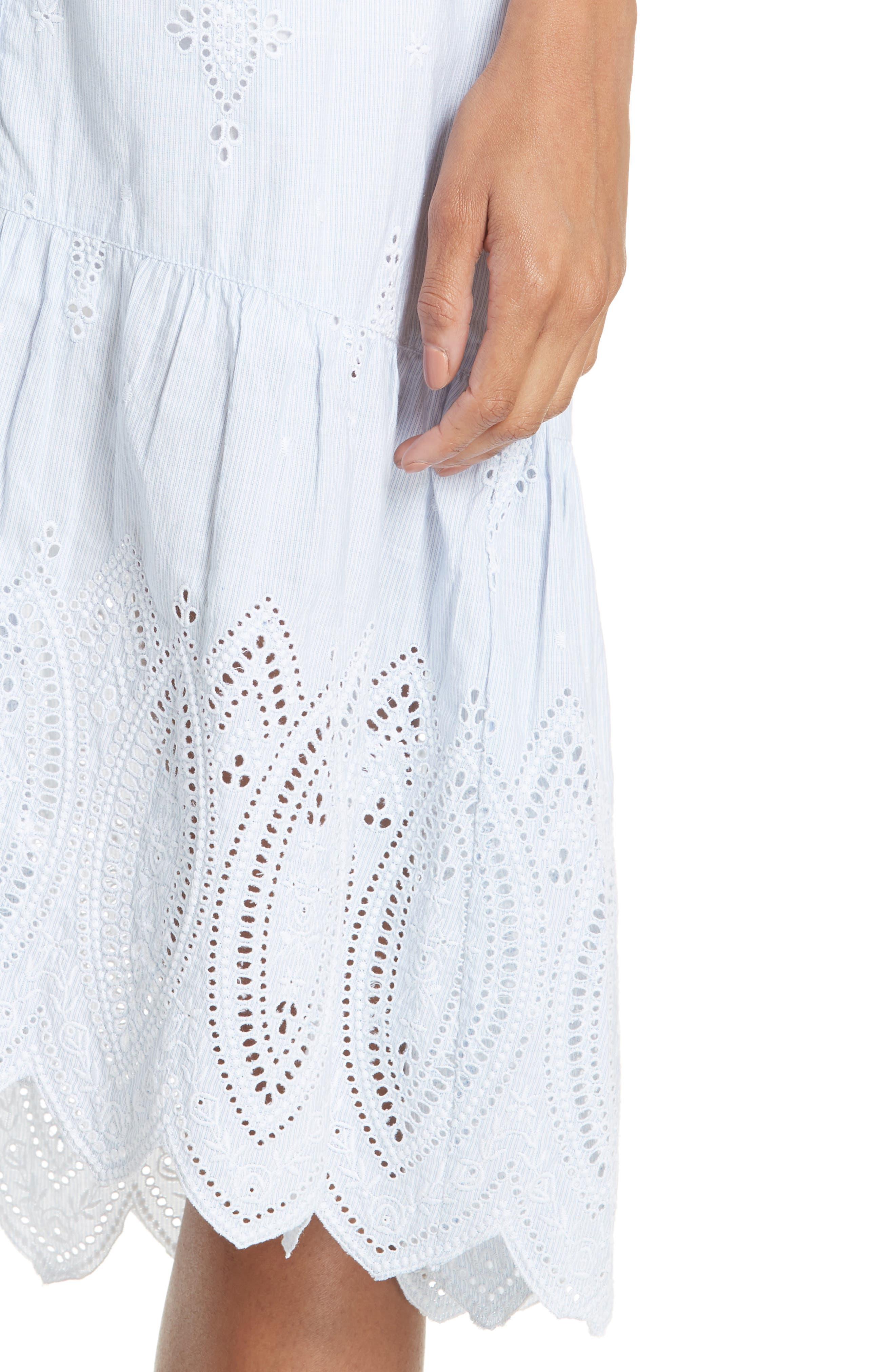 Chantoya Eyelet Scallop Hem Cotton Skirt,                             Alternate thumbnail 4, color,                             DESERT SKY