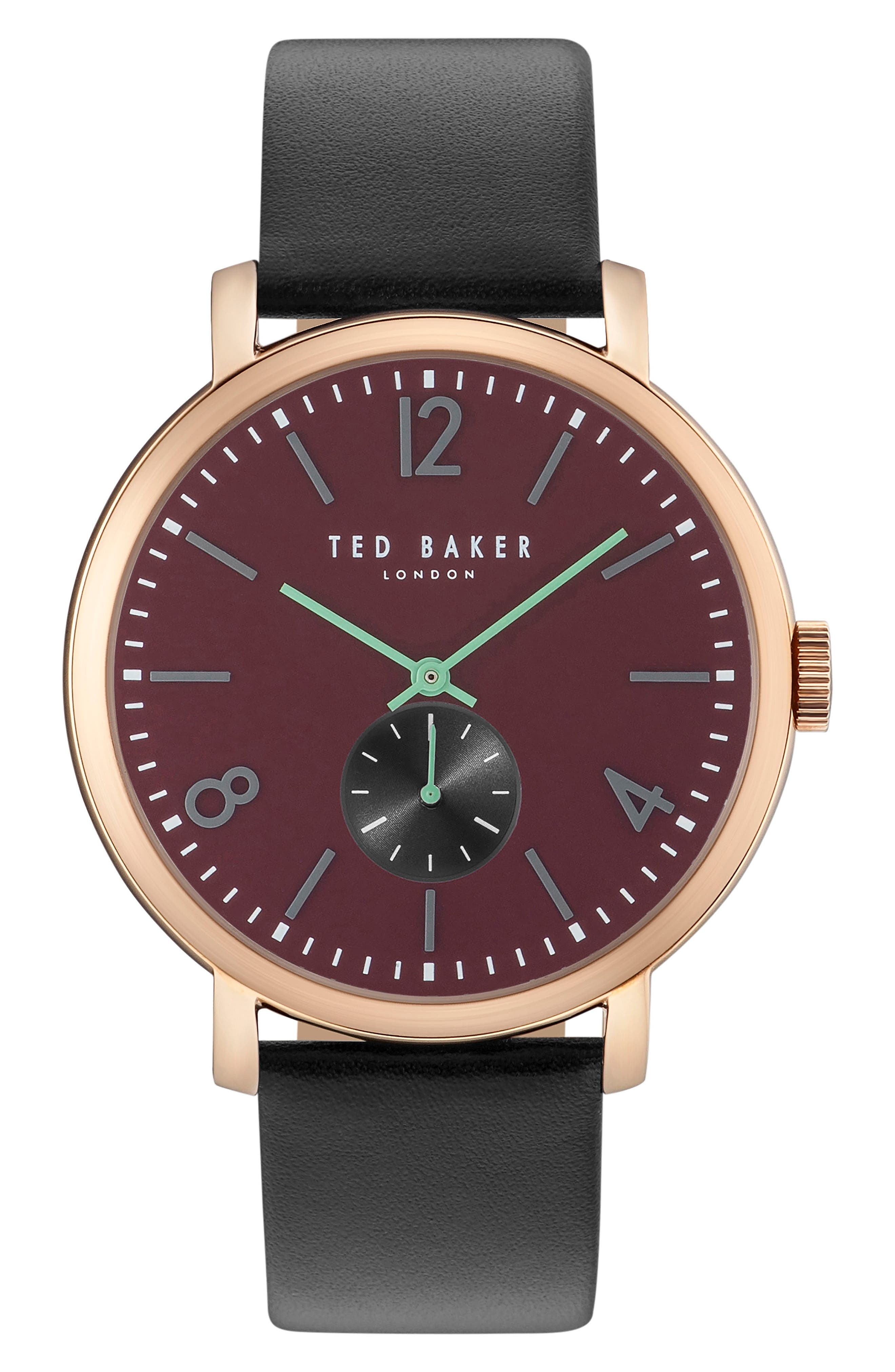 Oliver Leather Strap Watch, 42mm,                         Main,                         color, 001