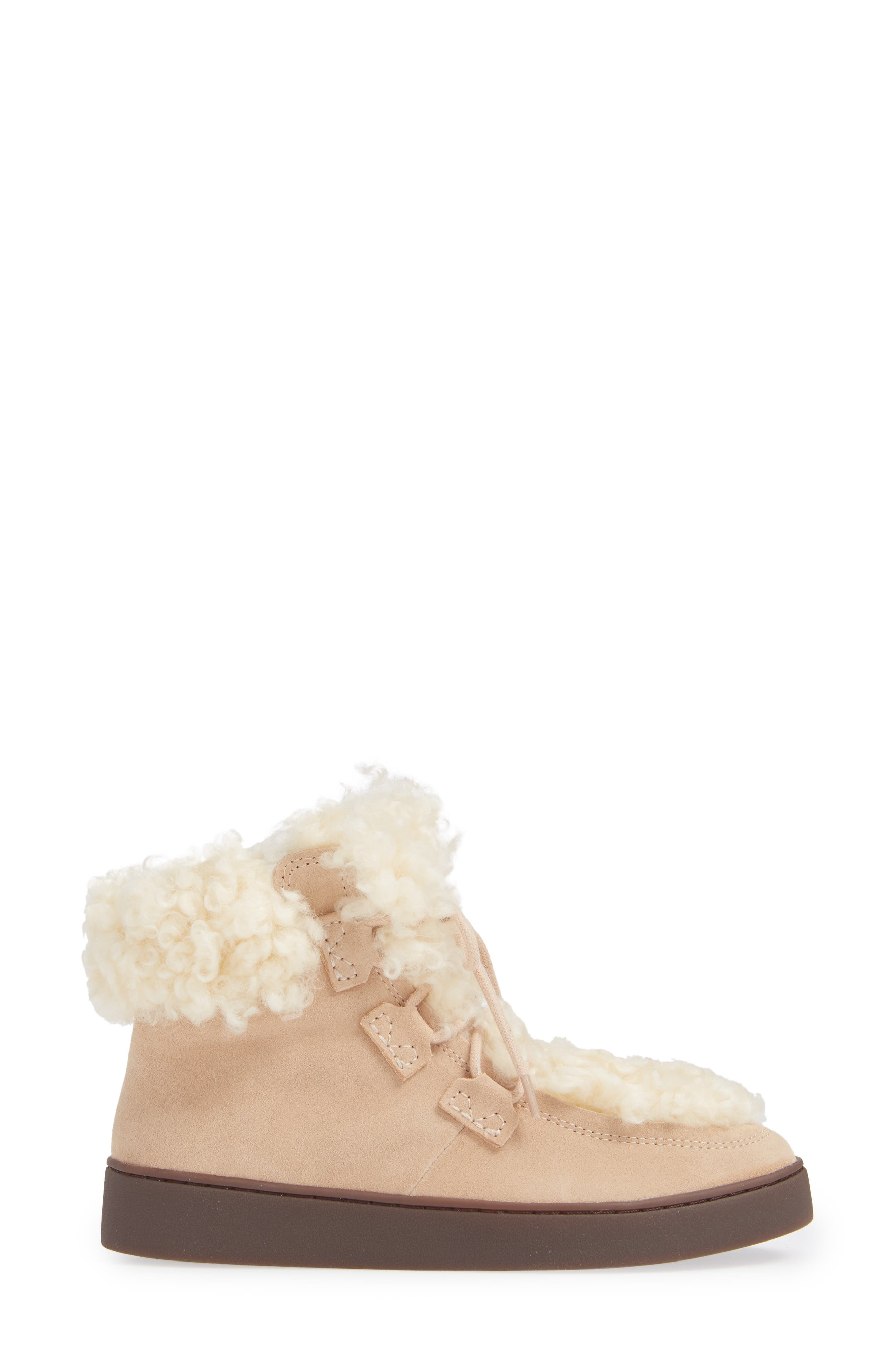 Oak Genuine Shearling Cuff Sneaker Bootie,                             Alternate thumbnail 3, color,                             SAND SUEDE