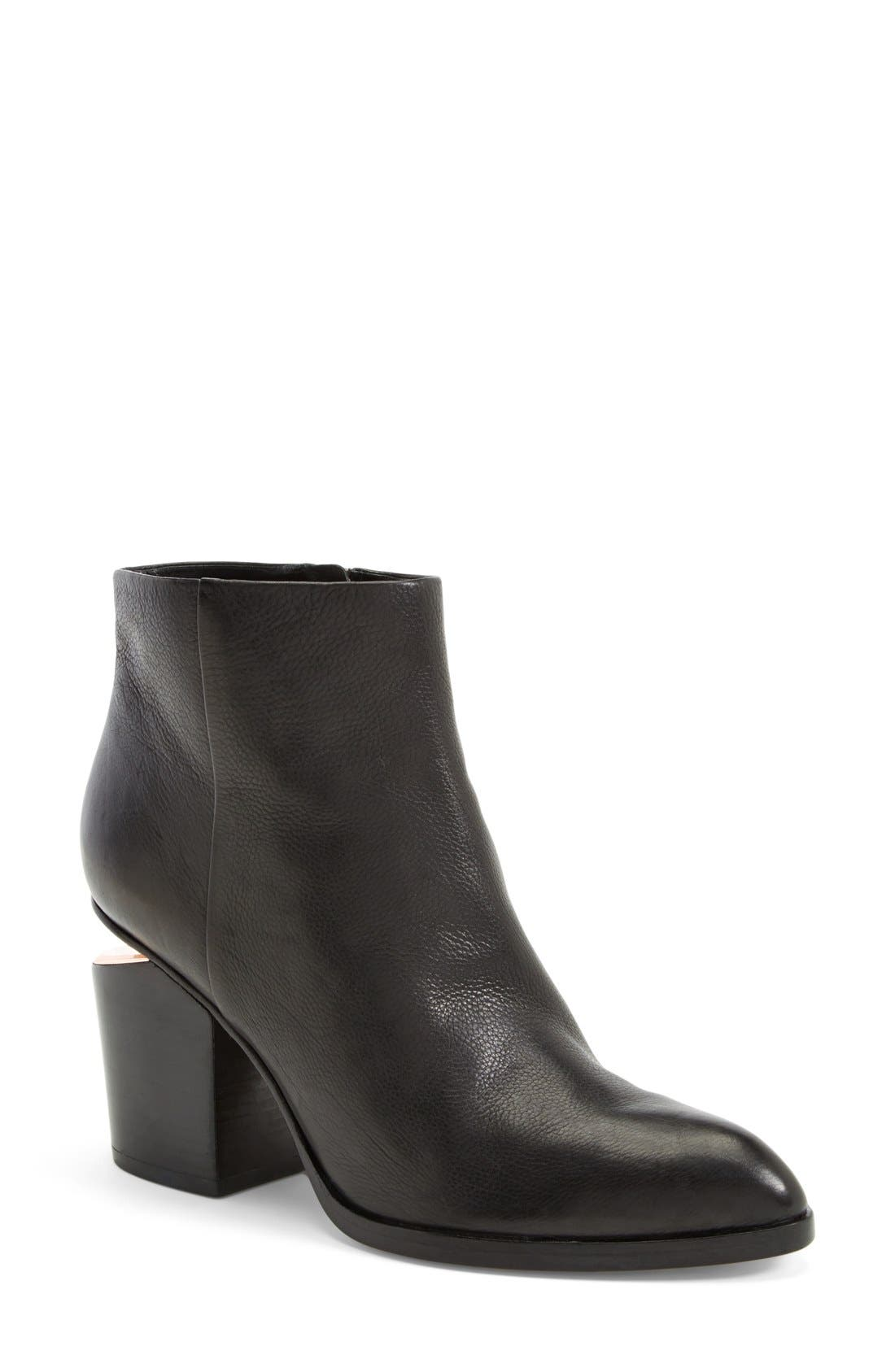 Gabi Bootie,                             Main thumbnail 1, color,                             BLACK LEATHER