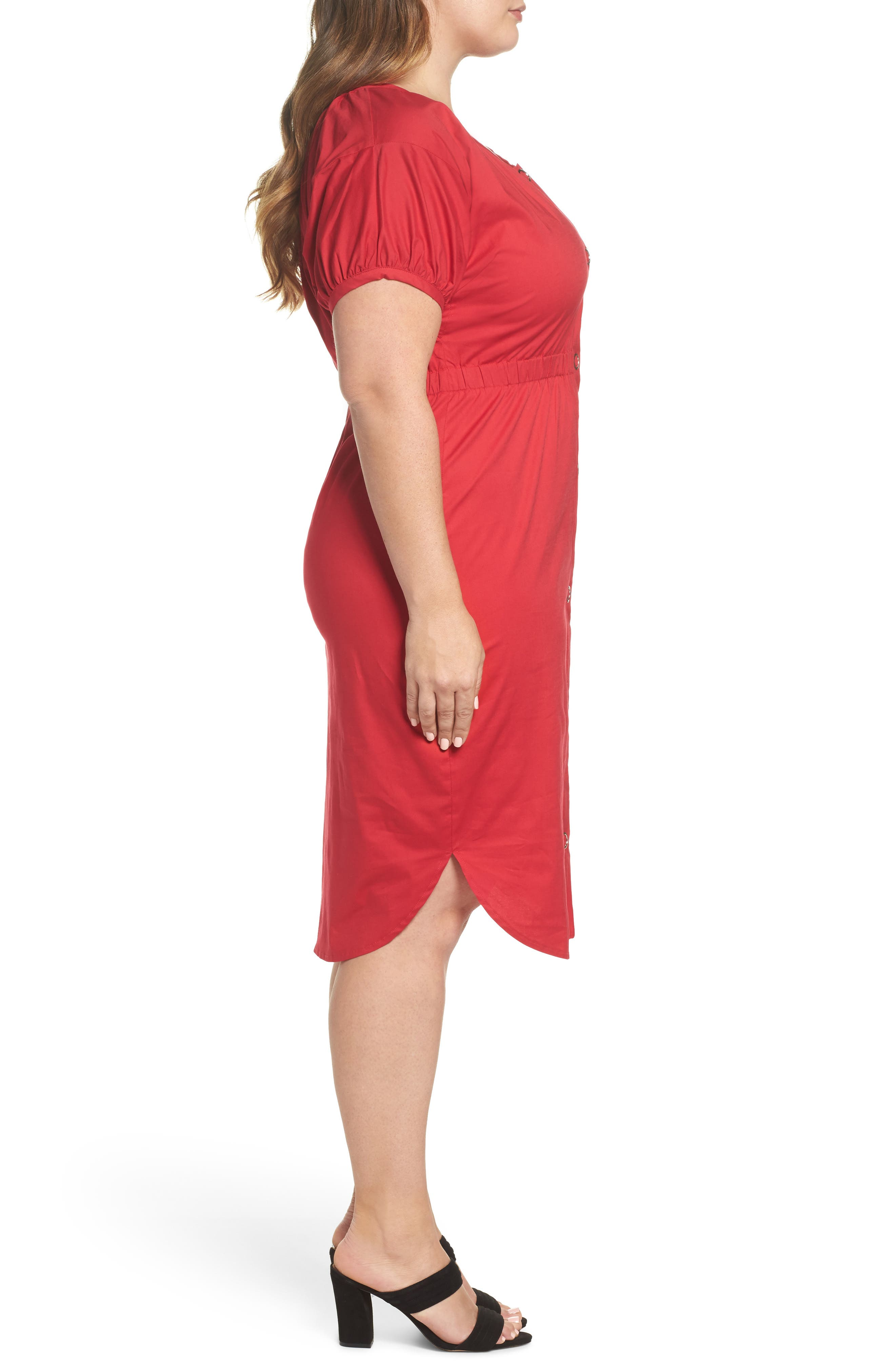 Column Cotton Dress,                             Alternate thumbnail 3, color,                             650