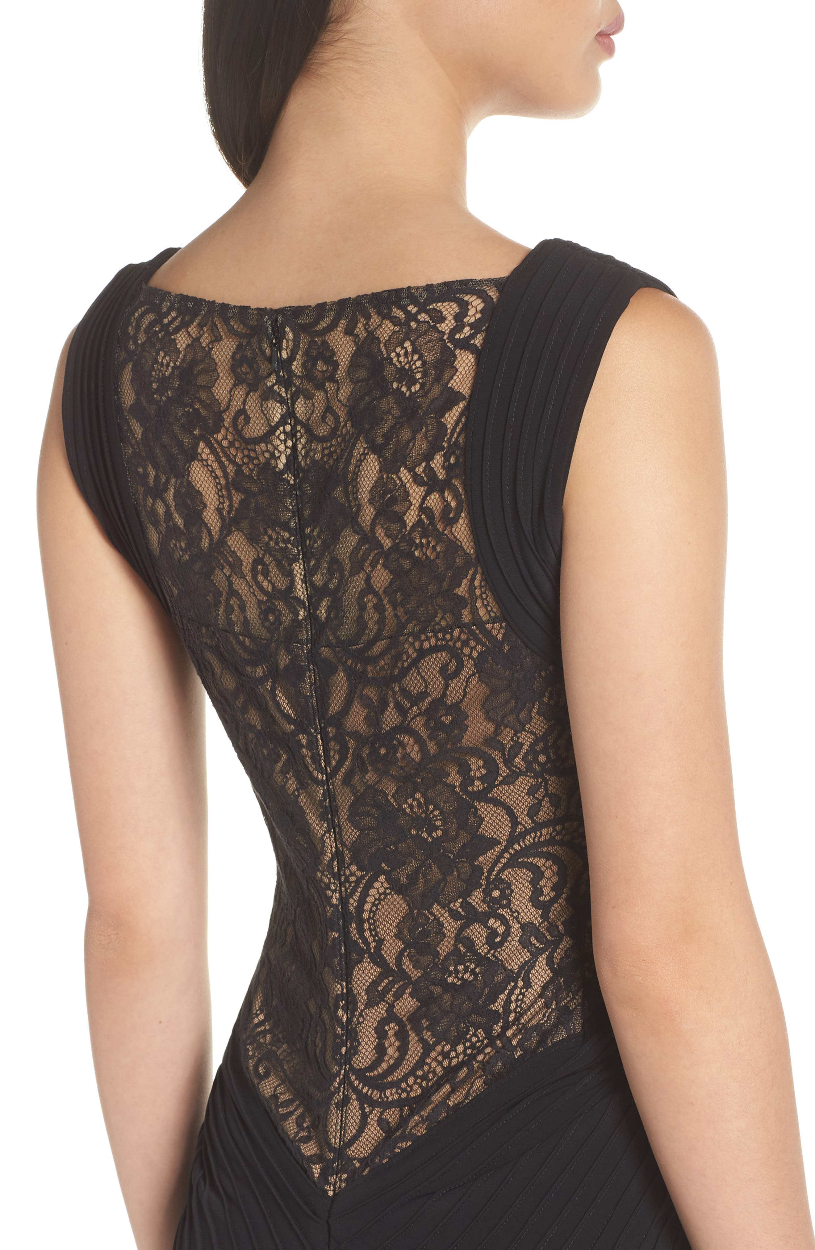 Pintuck & Lace Gown,                             Alternate thumbnail 4, color,                             BLACK/ NUDE