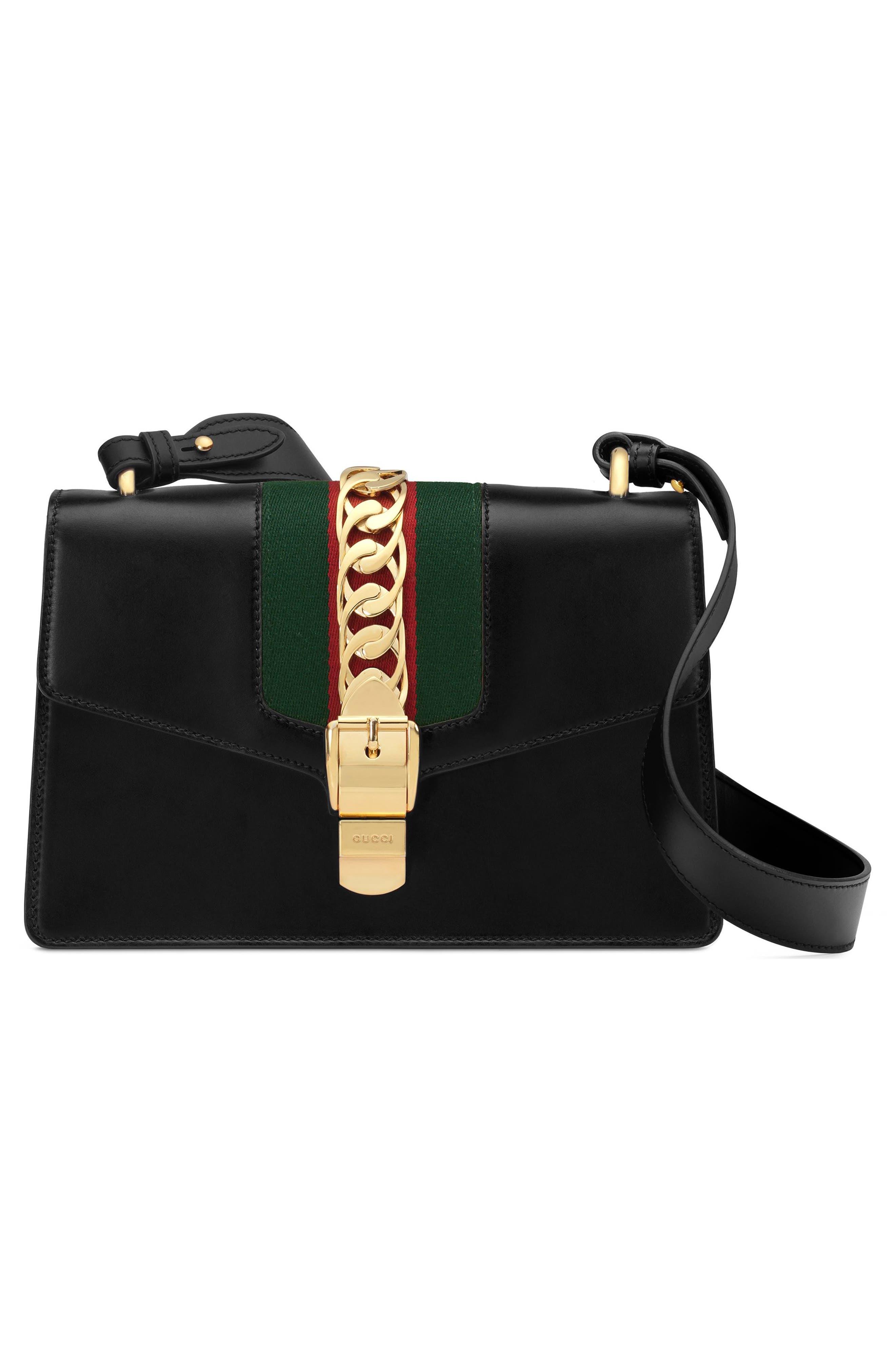 Small Sylvie Leather Shoulder Bag,                             Alternate thumbnail 5, color,                             NERO/ VRV/ BRB