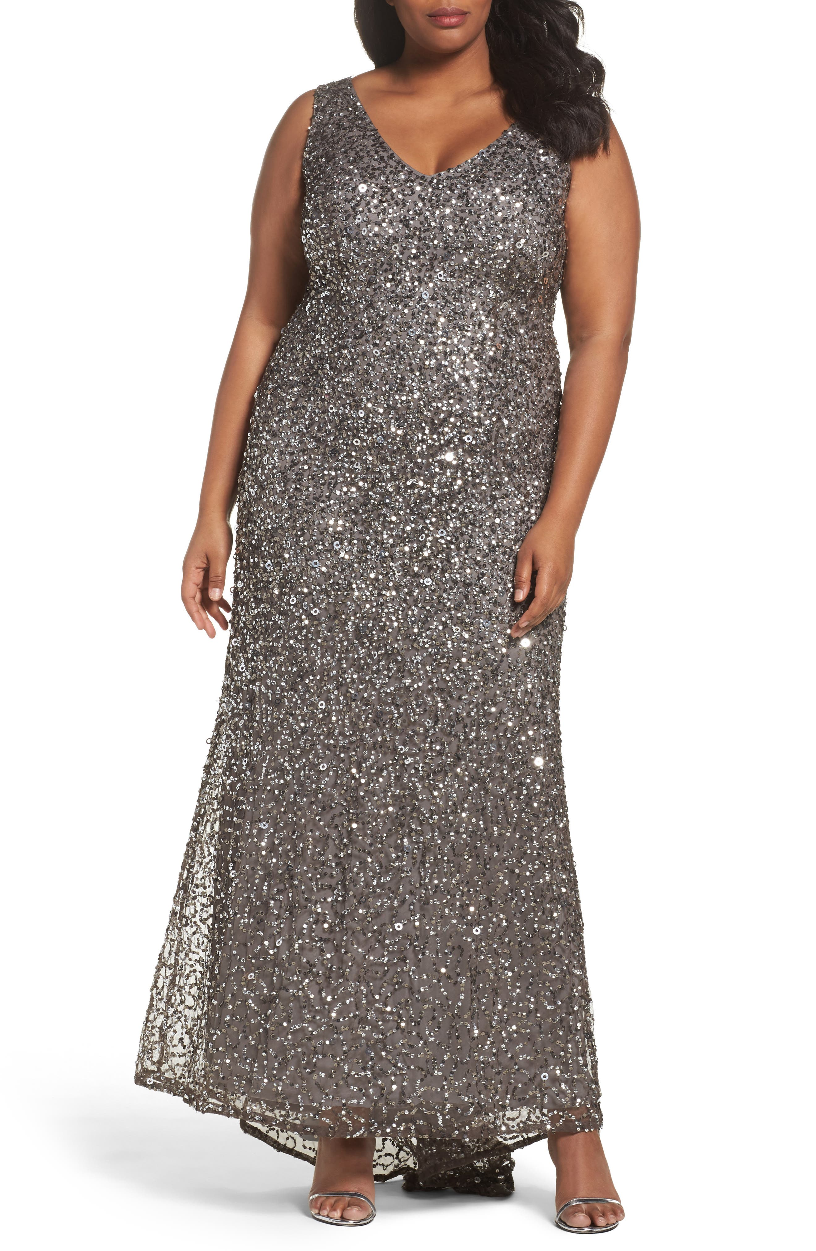 Plus Size Adrianna Papell Sequin A-Line Gown, Grey
