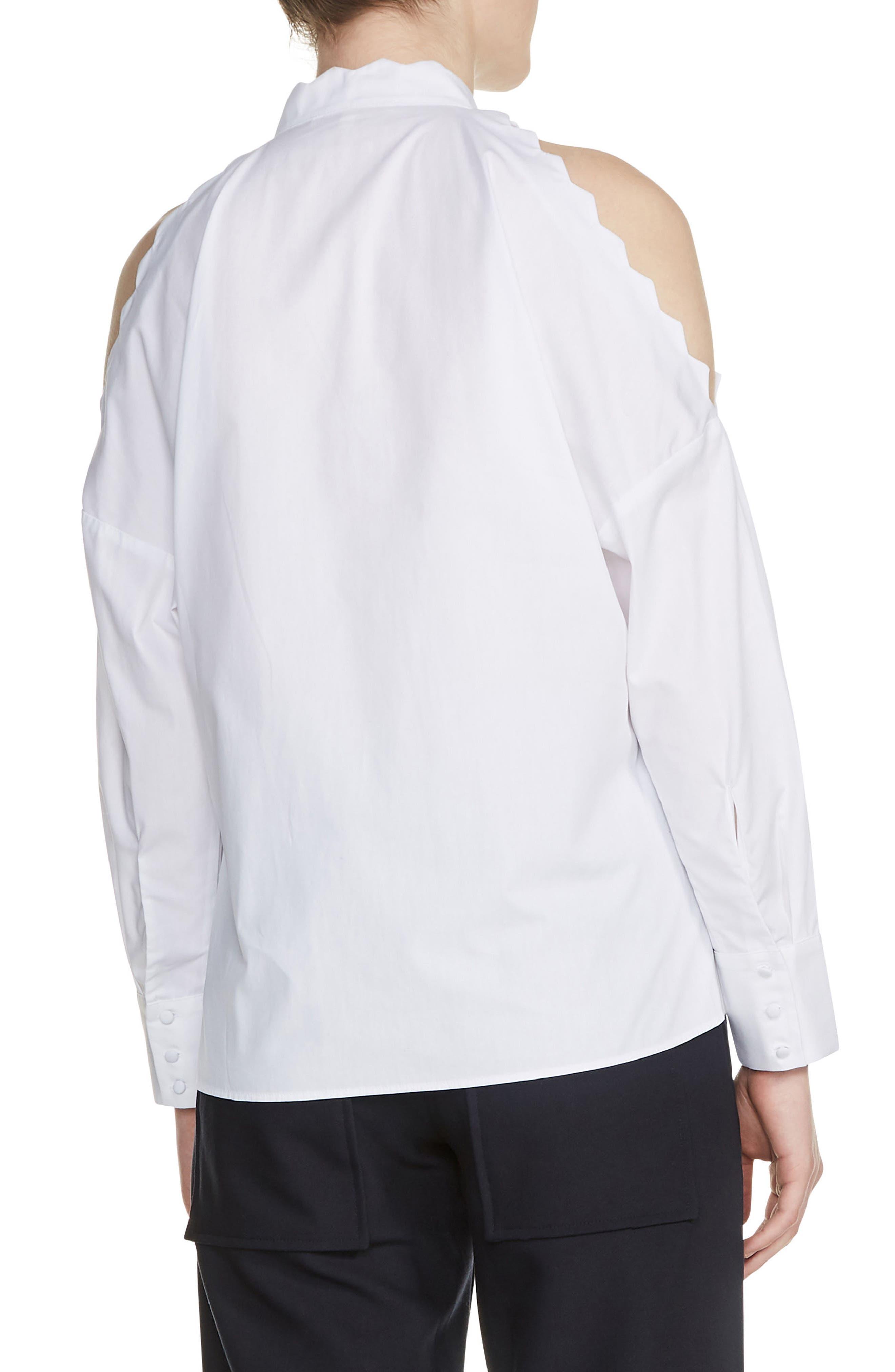 Cold Shoulder Cotton Blouse,                             Alternate thumbnail 2, color,                             100