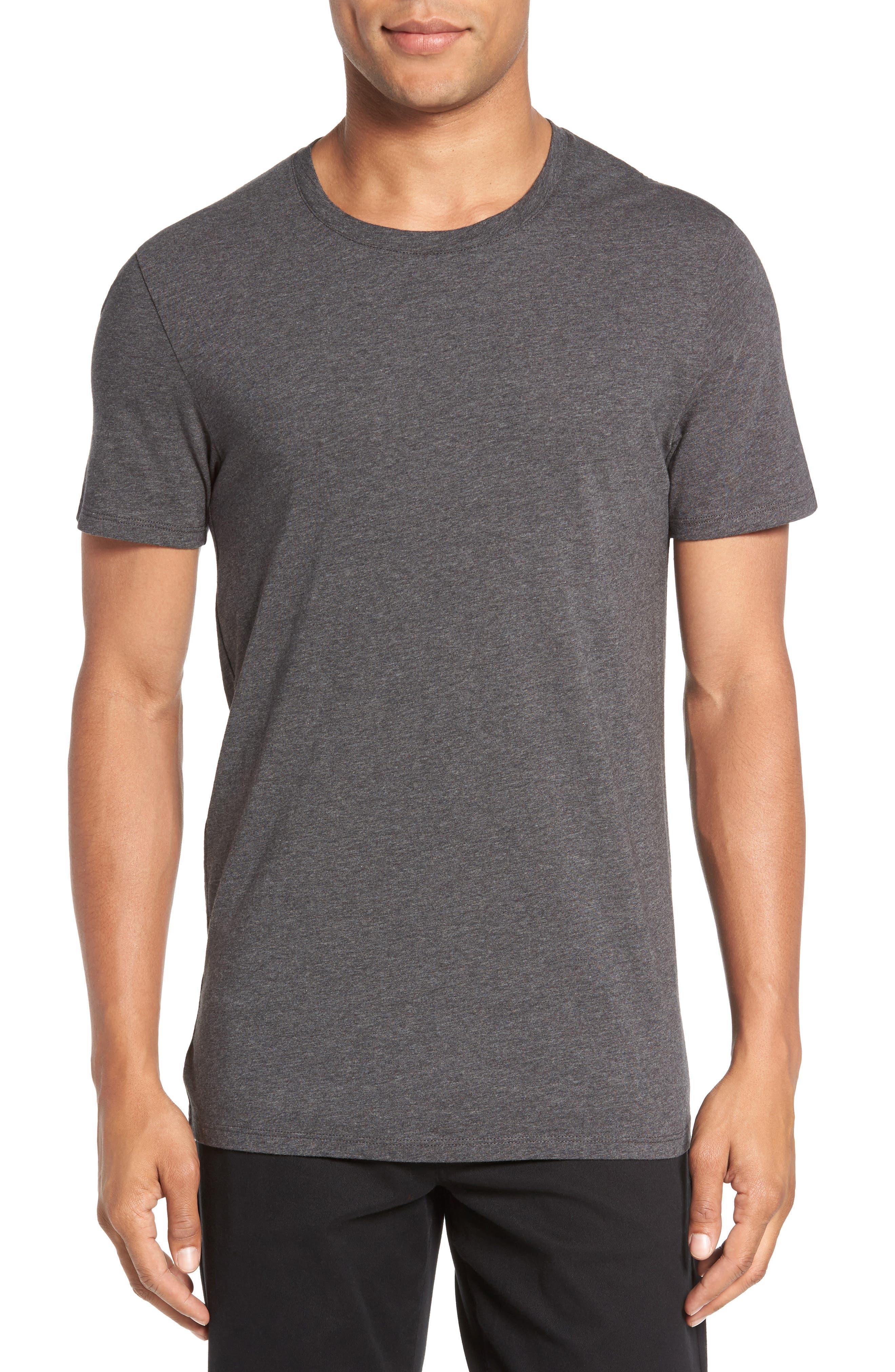 Crewneck T-Shirt,                         Main,                         color, HEATHER CARBON