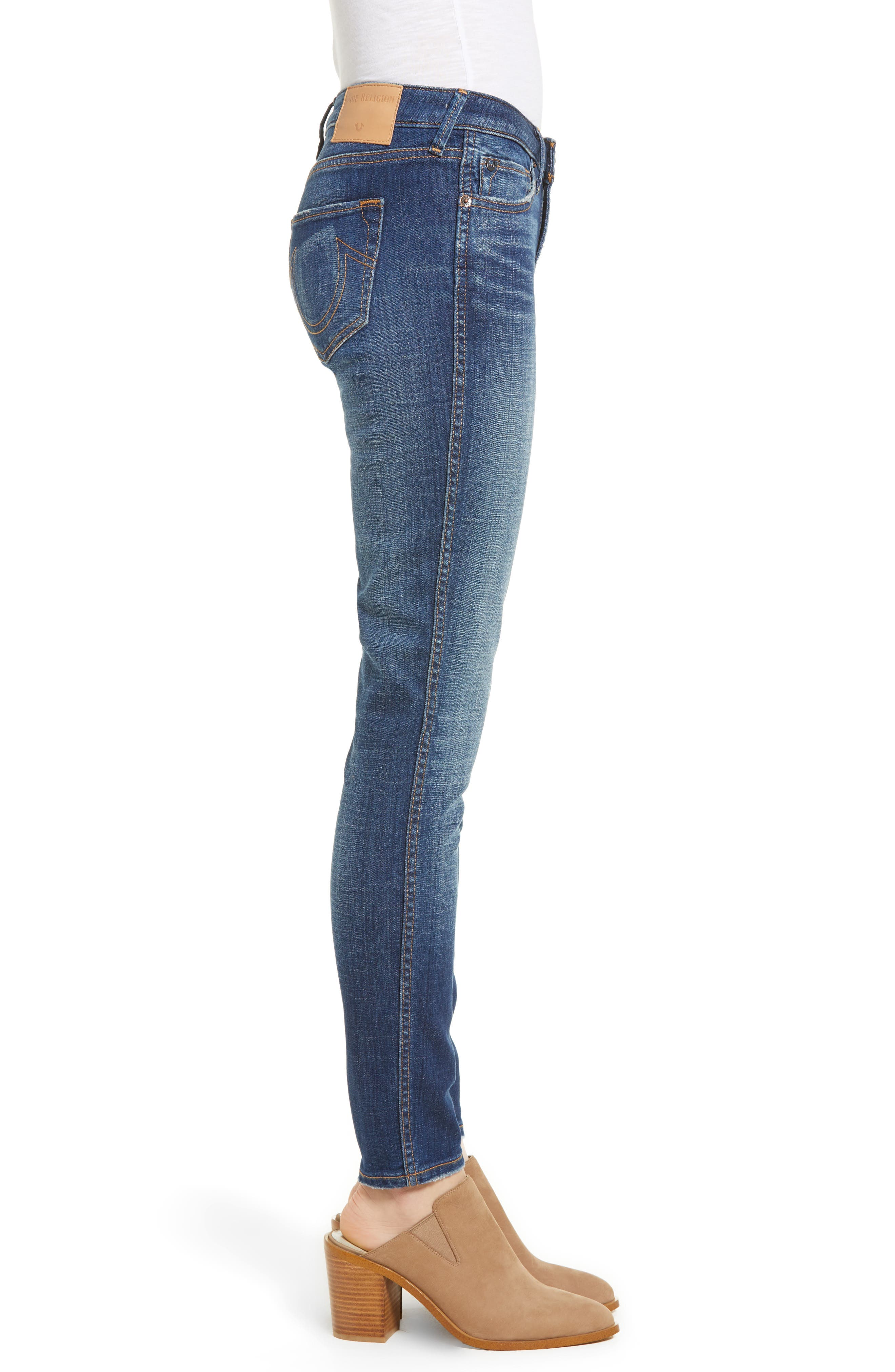 Halle Mid Rise Super Skinny Jeans,                             Alternate thumbnail 3, color,                             401