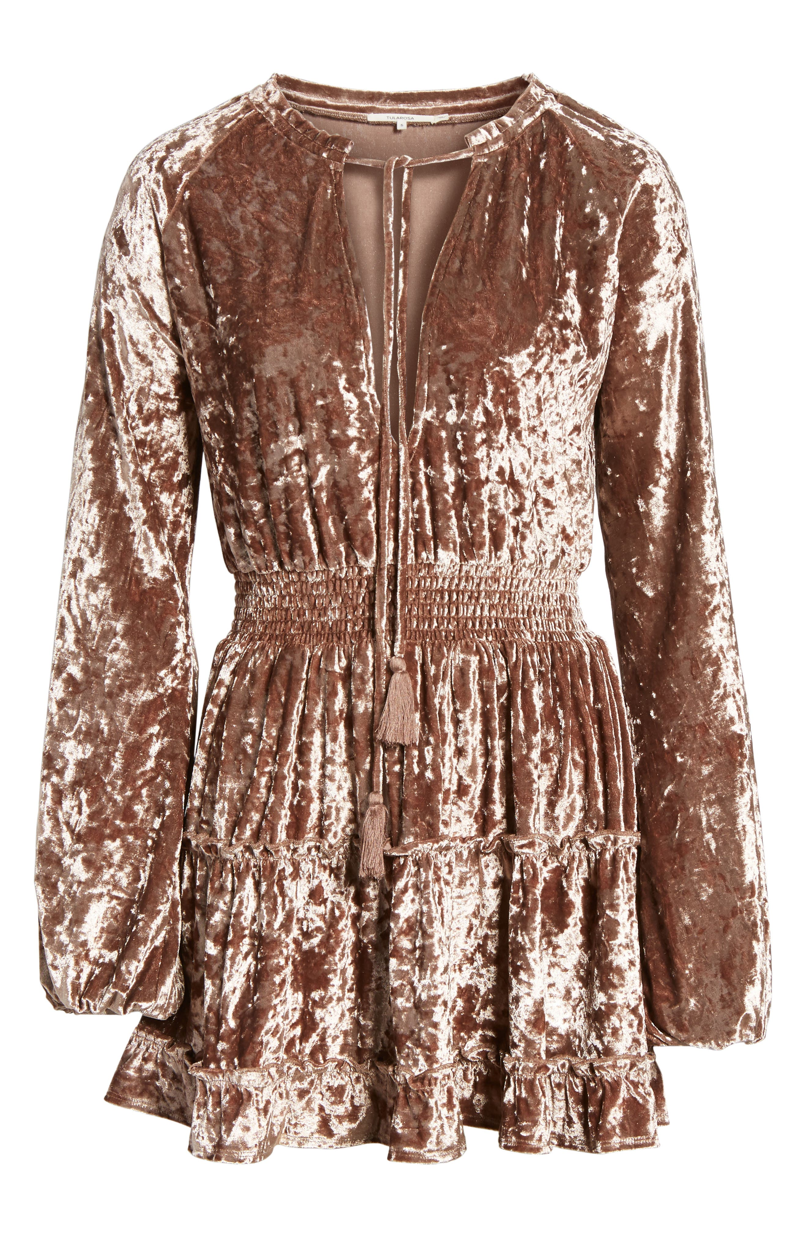 Delaney Crushed Velvet Minidress,                             Alternate thumbnail 6, color,