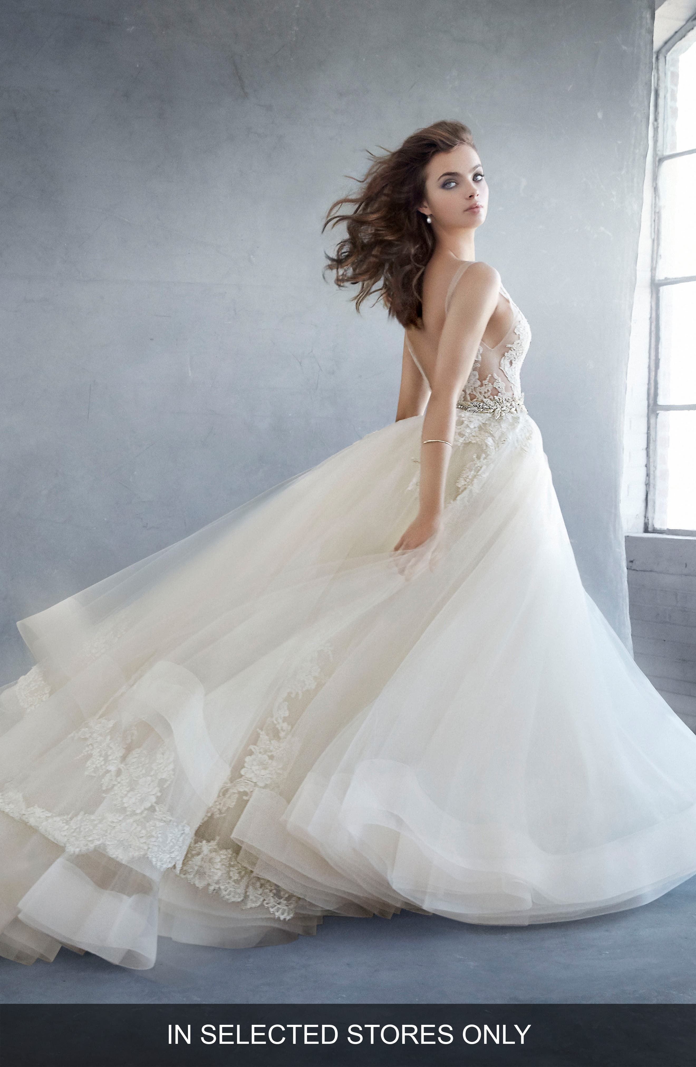 Beaded Lace & Tulle Ballgown,                             Main thumbnail 1, color,                             IVORY/ GOLD/ CHAMPAGNE