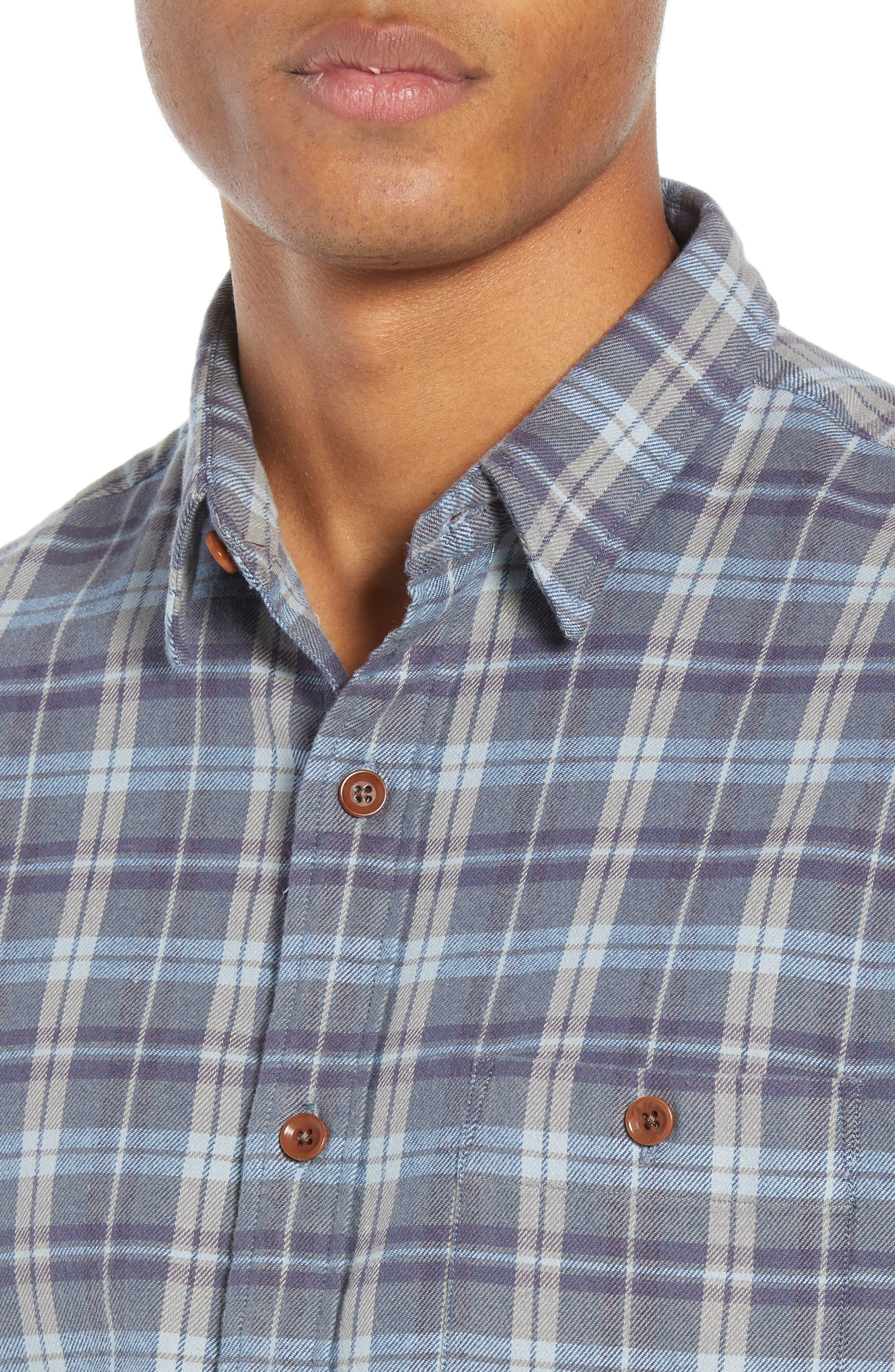 Seaview Stretch Flannel Shirt,                             Alternate thumbnail 2, color,                             DARK BLUE GREY