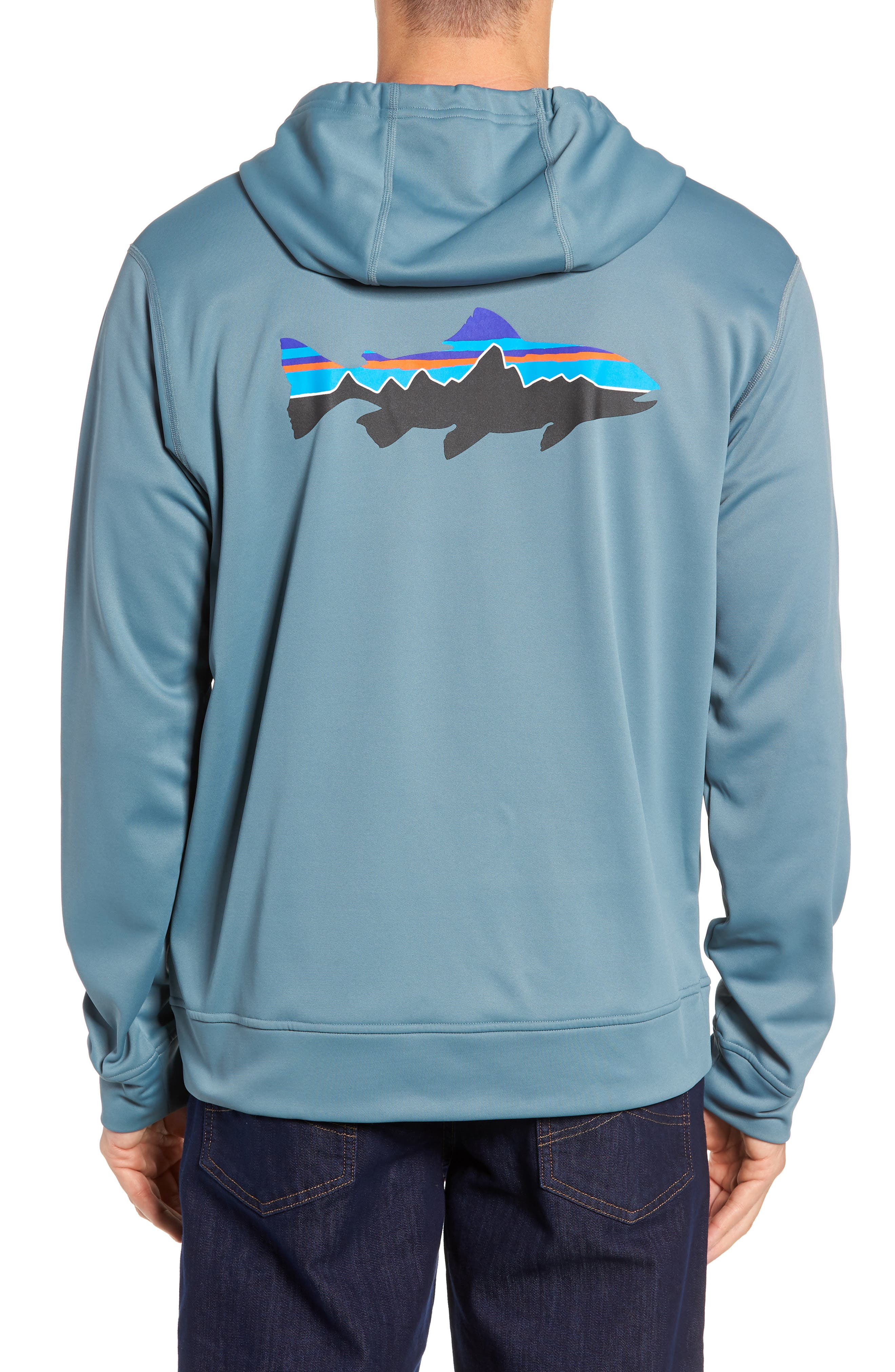 Fitz Roy Trout PolyCycle<sup>®</sup> Full-Zip Hoodie,                             Alternate thumbnail 2, color,                             SHADOW BLUE