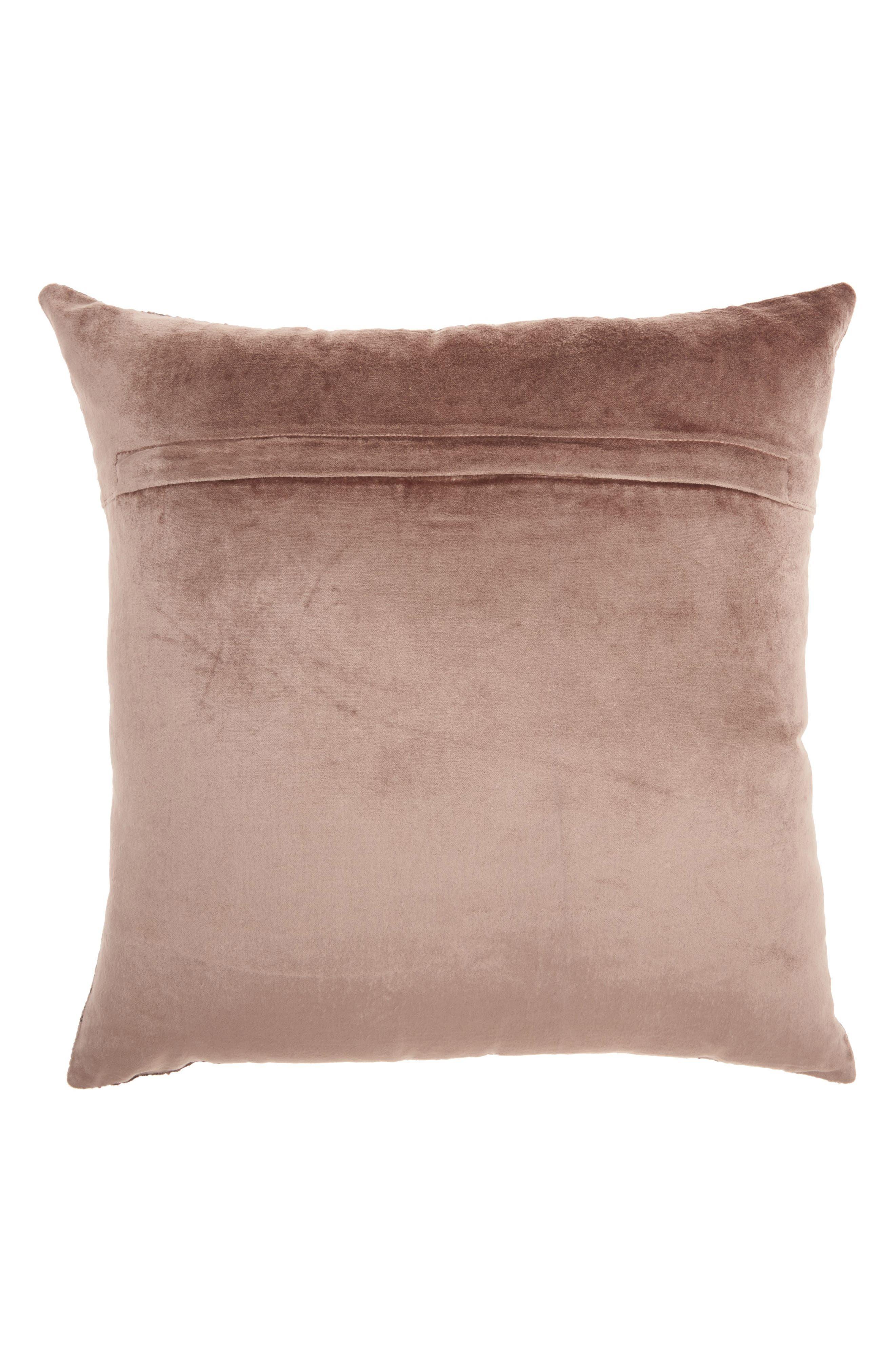 Distressed Velvet Accent Pillow,                             Alternate thumbnail 2, color,                             BEIGE