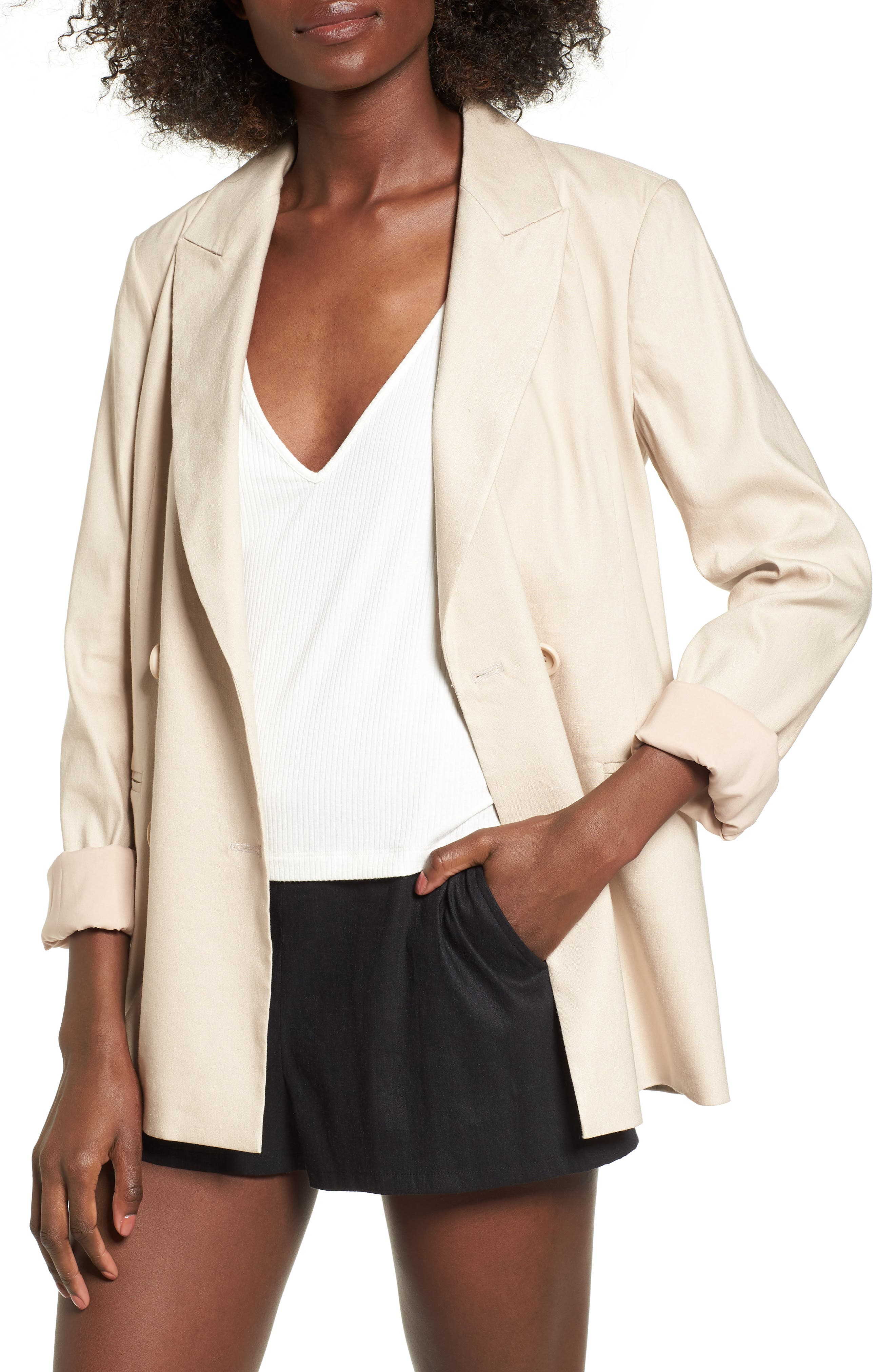 Double Breasted Linen Blend Blazer,                             Main thumbnail 2, color,