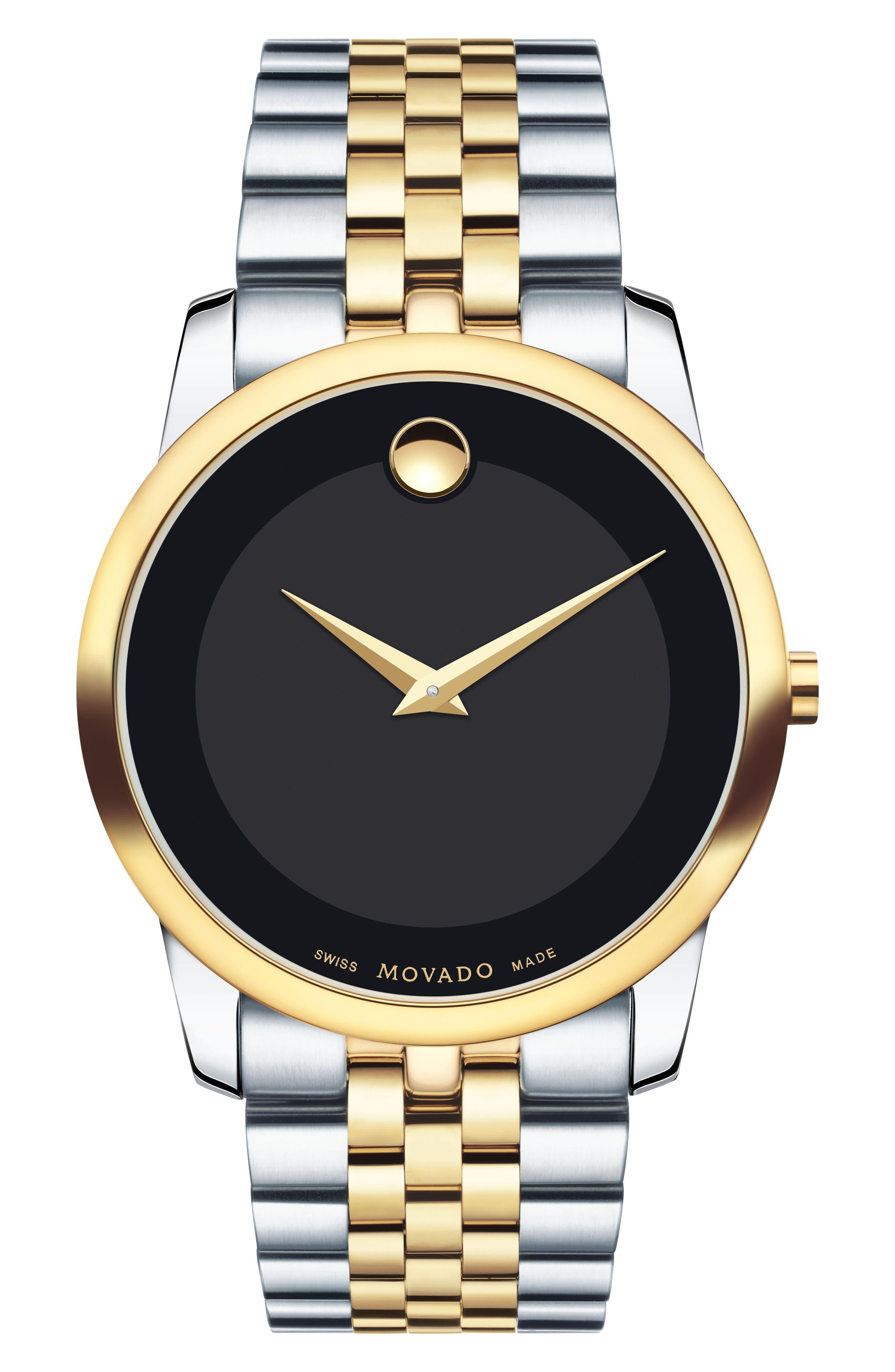 Museum Bracelet Watch, 40mm,                         Main,                         color, SILVER/ GOLD/ BLACK