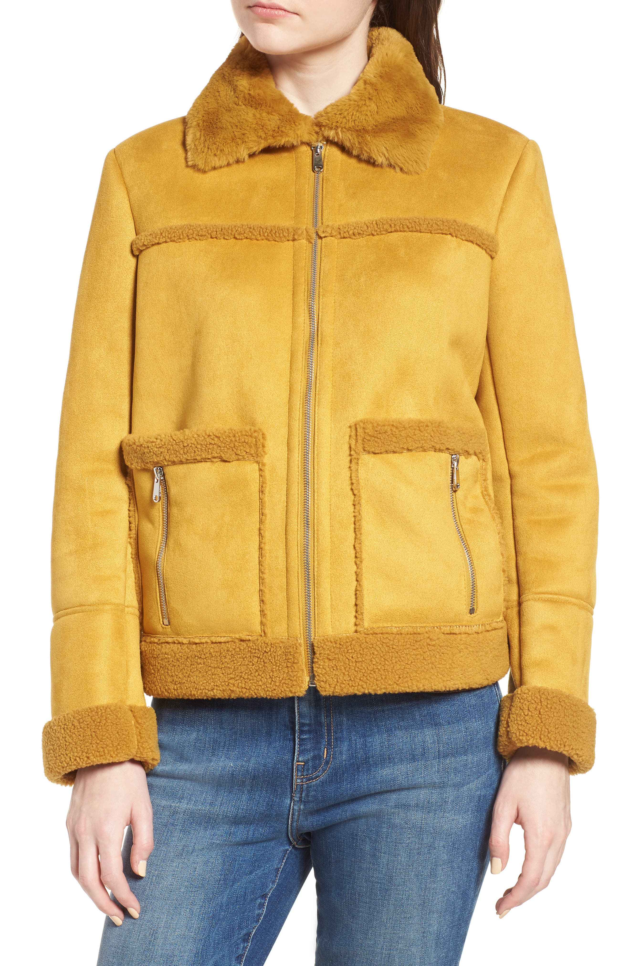 Faux Shearling Zip Front Jacket,                             Alternate thumbnail 4, color,                             702