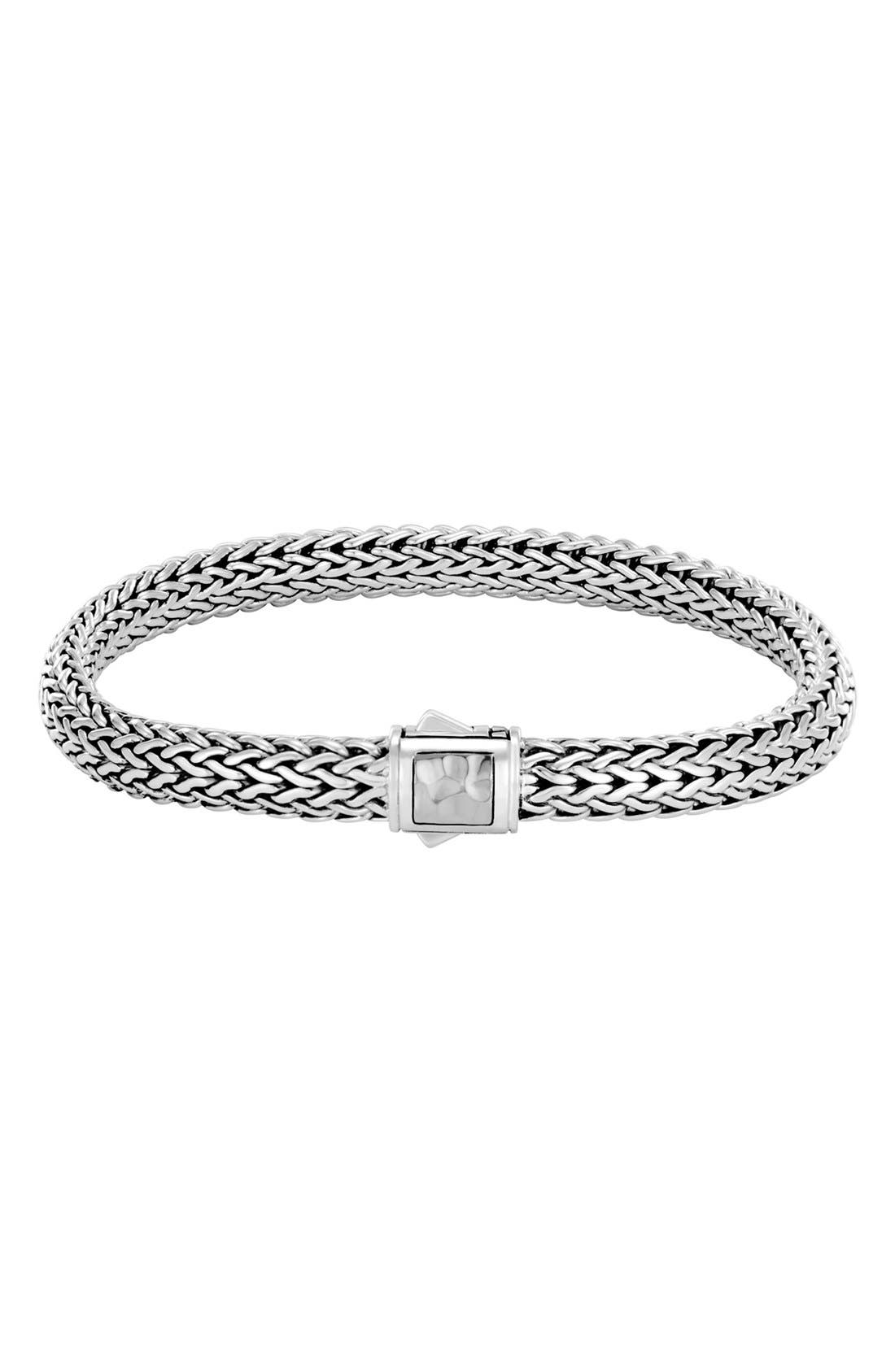 6.5mm Hammered Clasp Bracelet,                         Main,                         color, SILVER