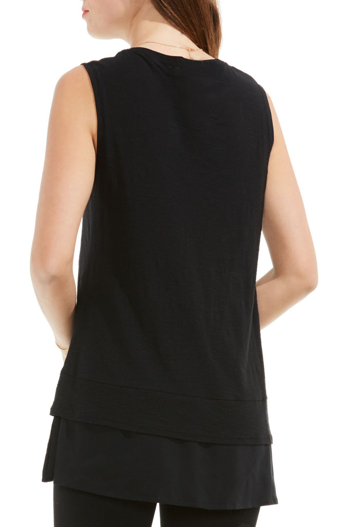 Two by Vince Camuto Mixed Media Top,                             Alternate thumbnail 2, color,                             RICH BLACK