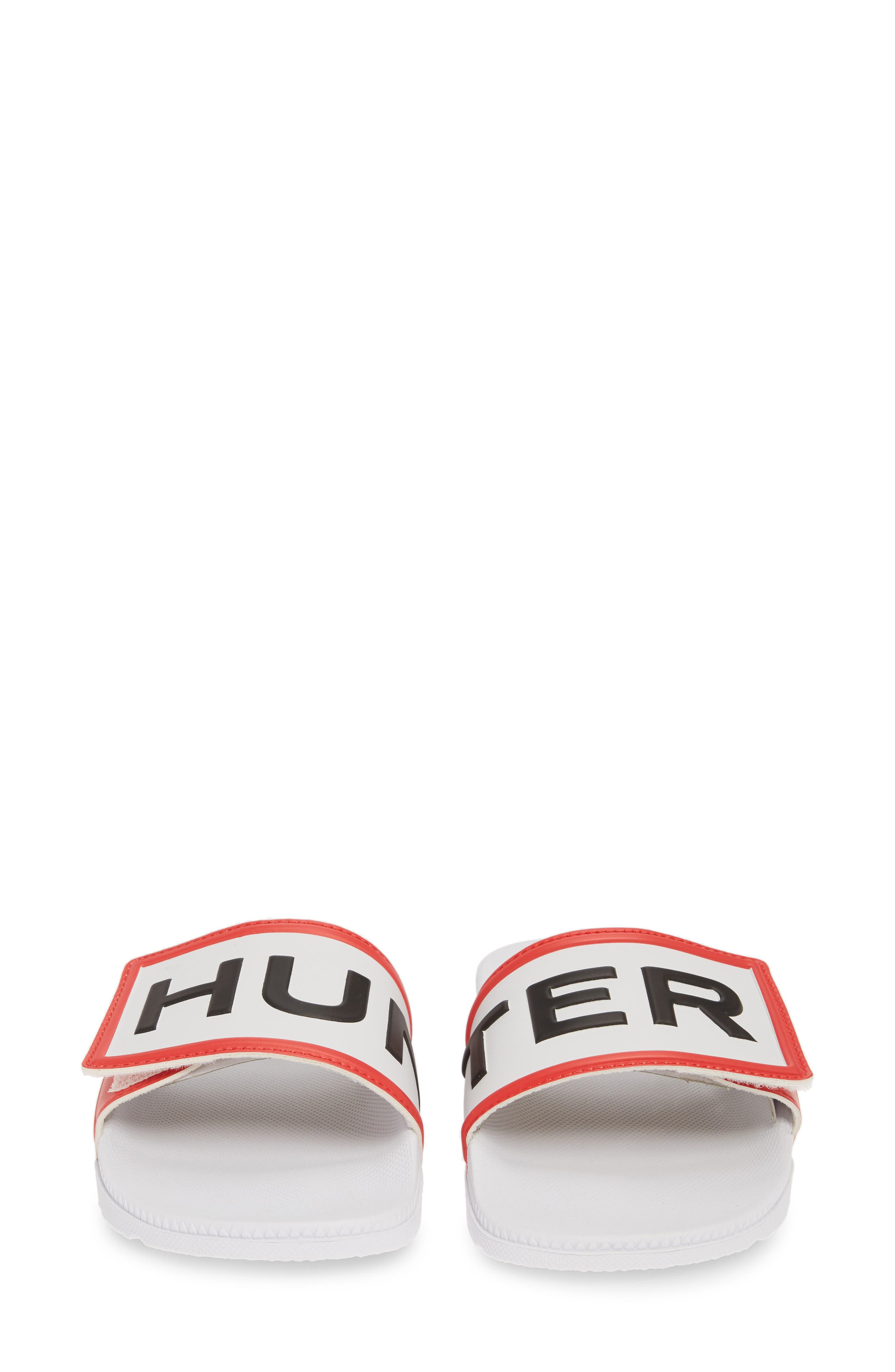 HUNTER,                             Original Adjustable Logo Slide Sandal,                             Alternate thumbnail 5, color,                             WHITE/ WHITE