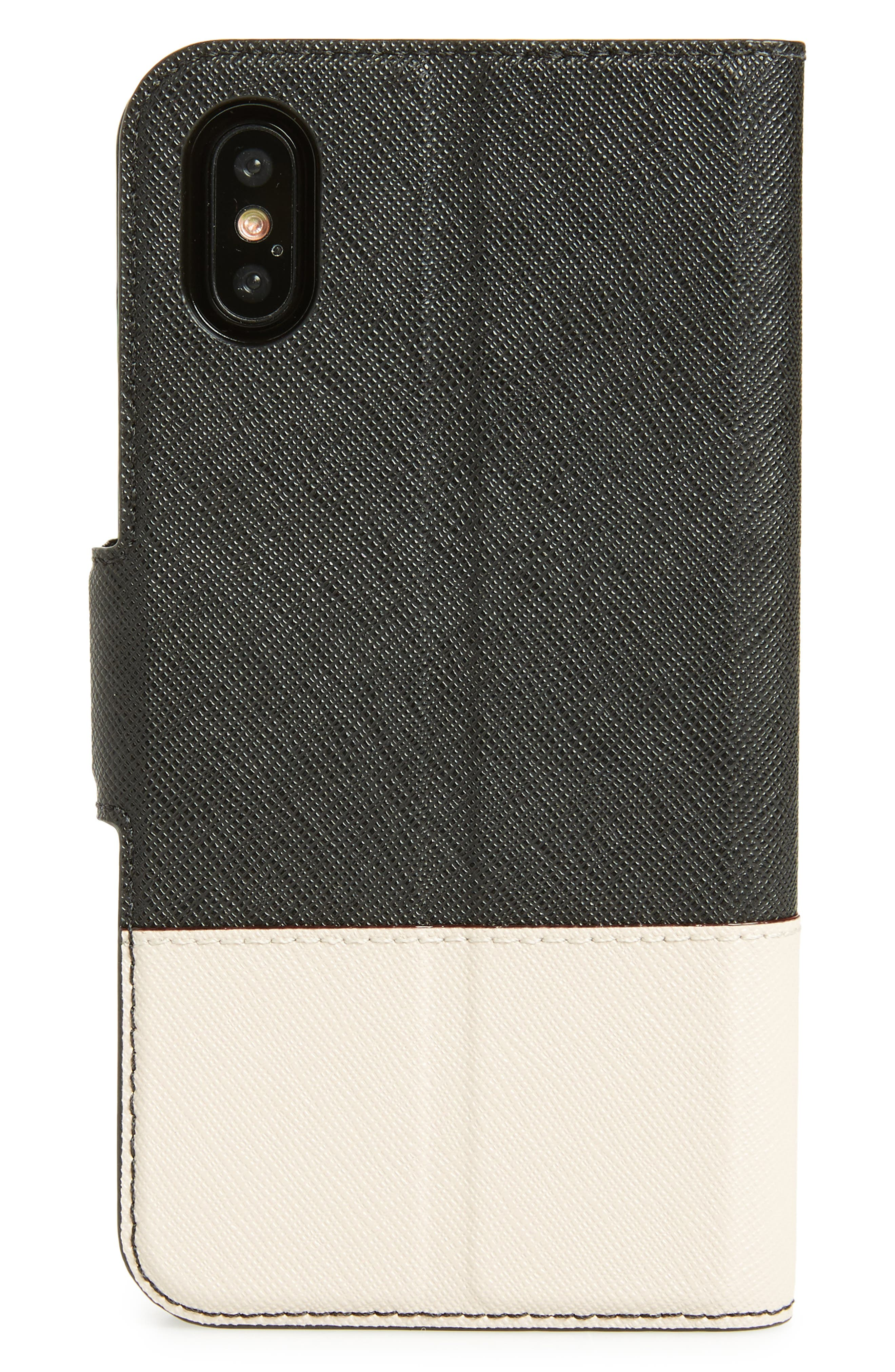 leather wrap iPhone X & Xs folio case,                             Alternate thumbnail 3, color,                             BLACK/ TUSK