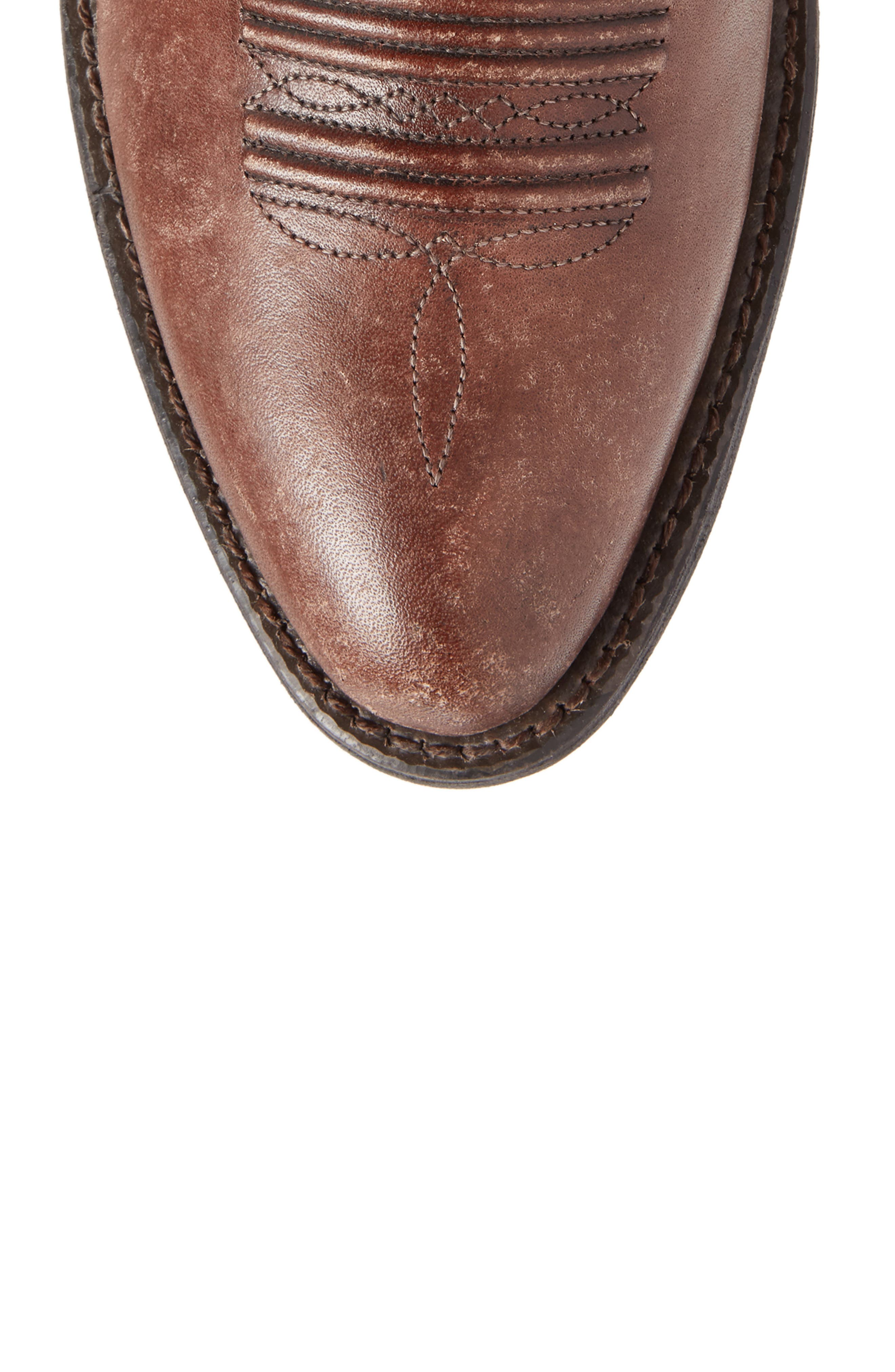 Heritage Calhoun Western R-Toe Boot,                             Alternate thumbnail 5, color,                             NATURAL BROWN LEATHER