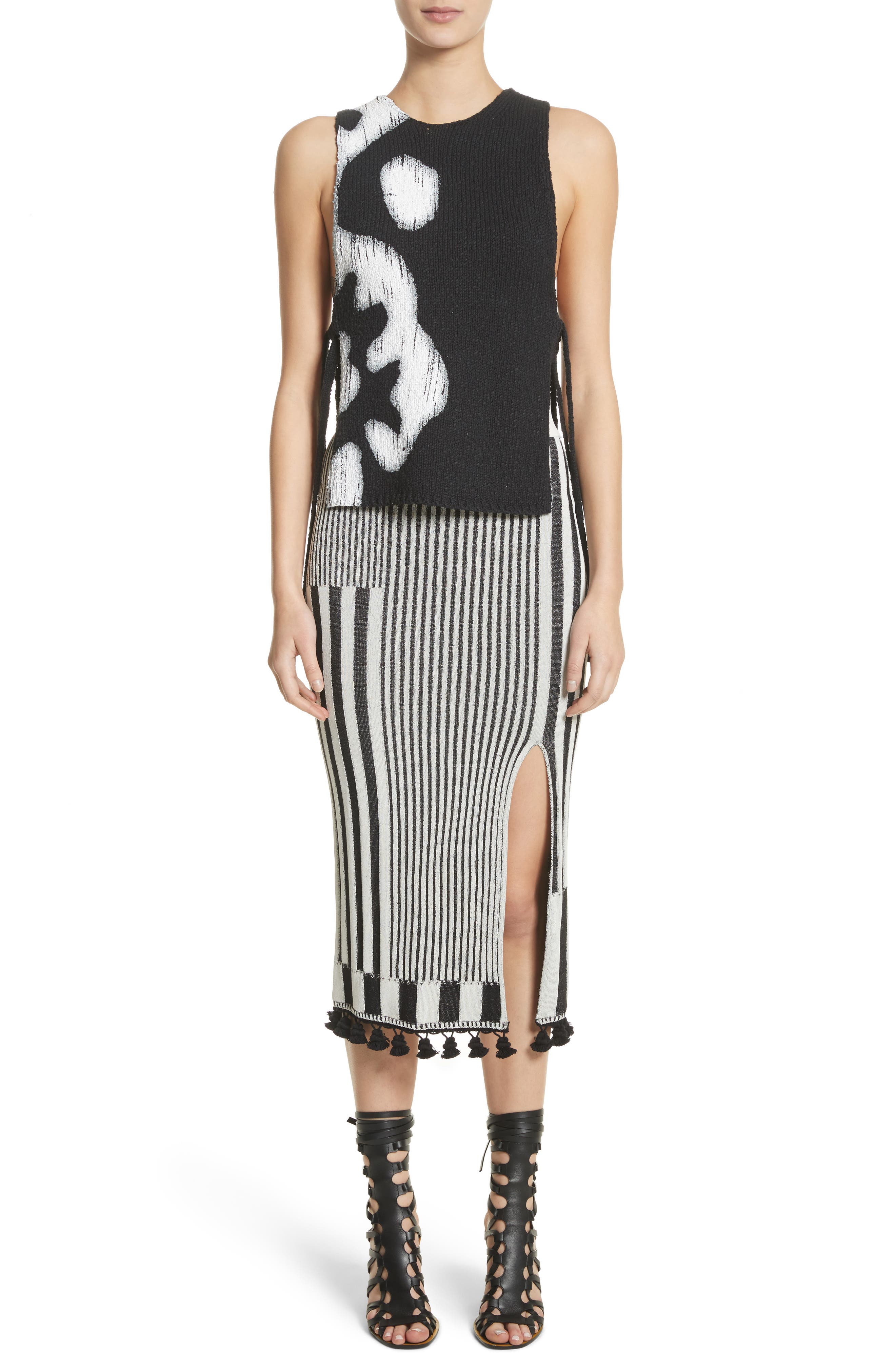 Tassel Trim Stripe Pencil Skirt,                             Alternate thumbnail 7, color,                             001