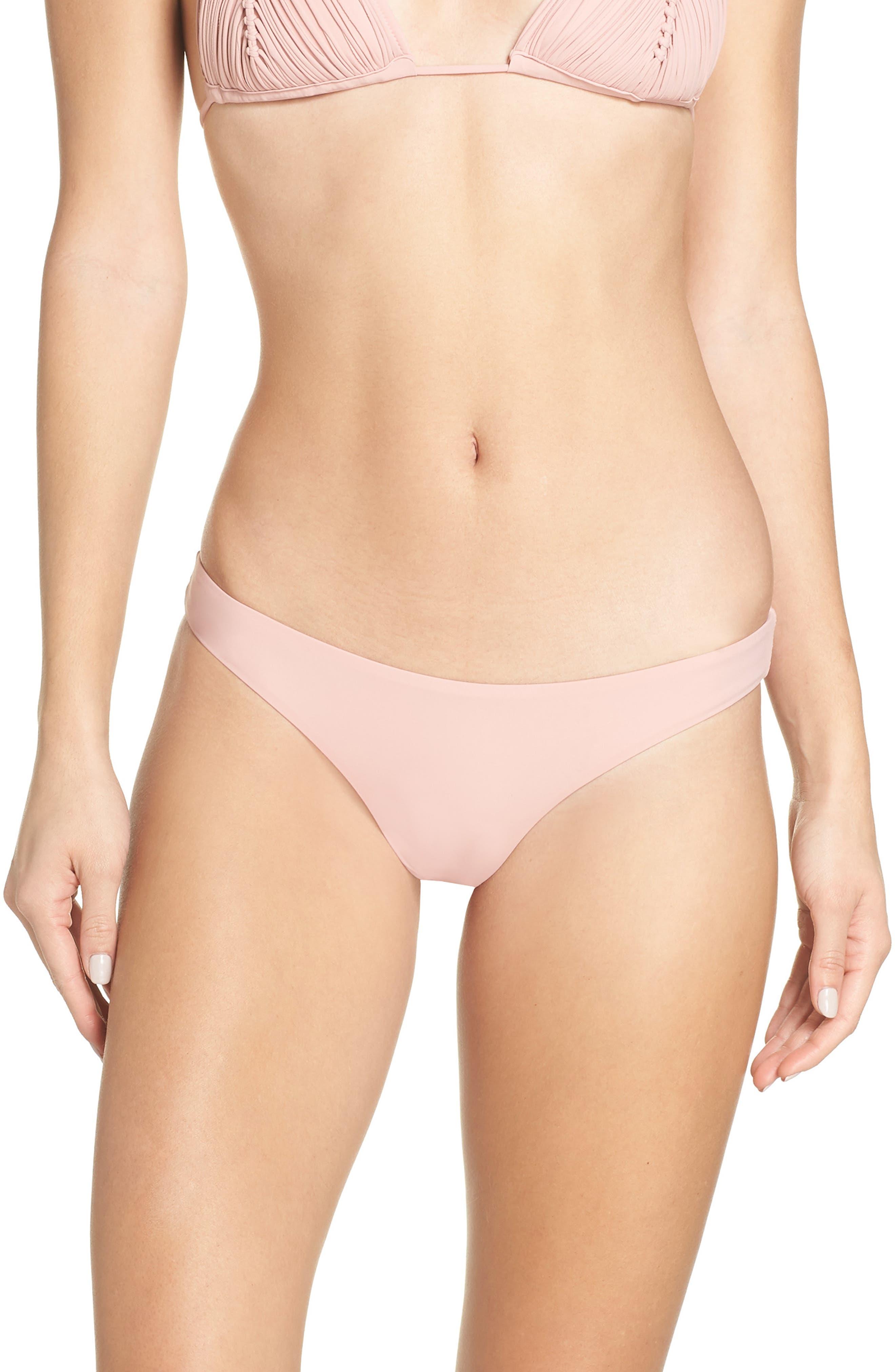 Pilyq Ruched Bikini Bottoms, Pink
