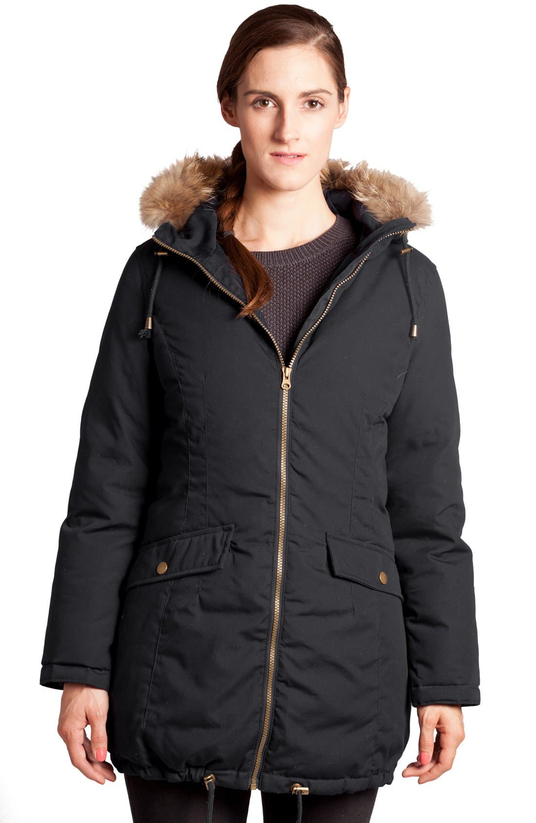 Convertible Down 3-in-1 Maternity Jacket,                             Alternate thumbnail 10, color,                             BLACK