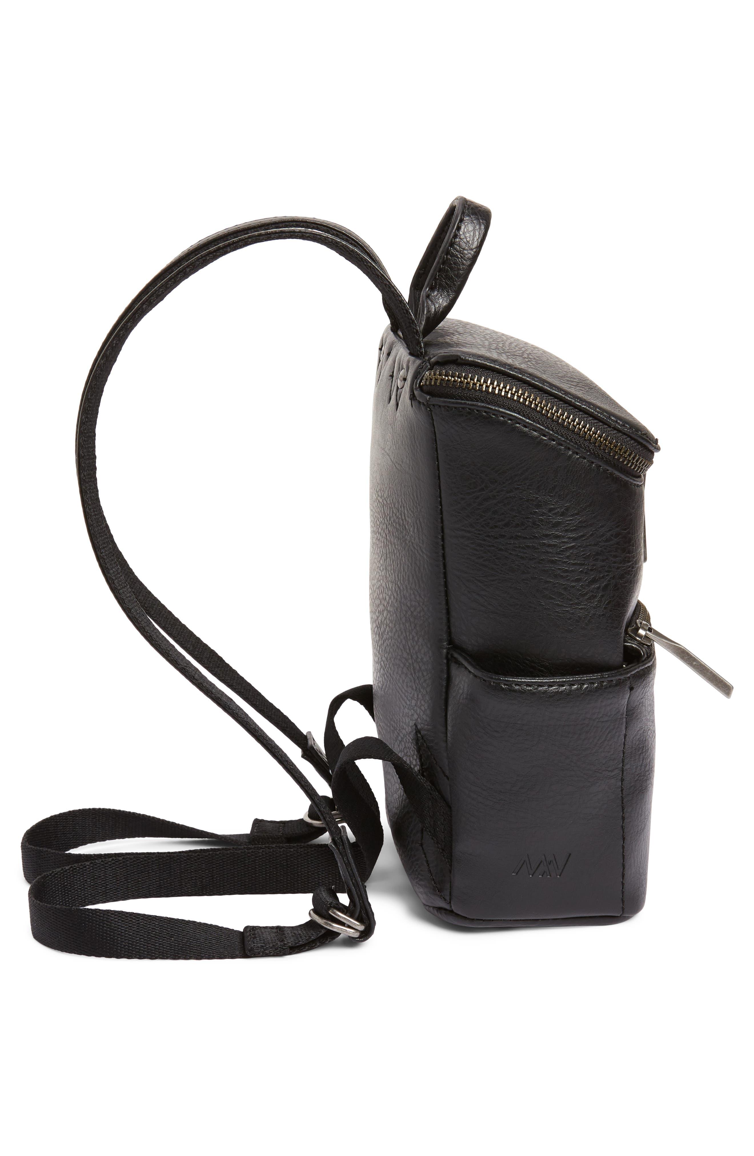 Mini Brave Faux Leather Backpack,                             Alternate thumbnail 5, color,                             BLACK