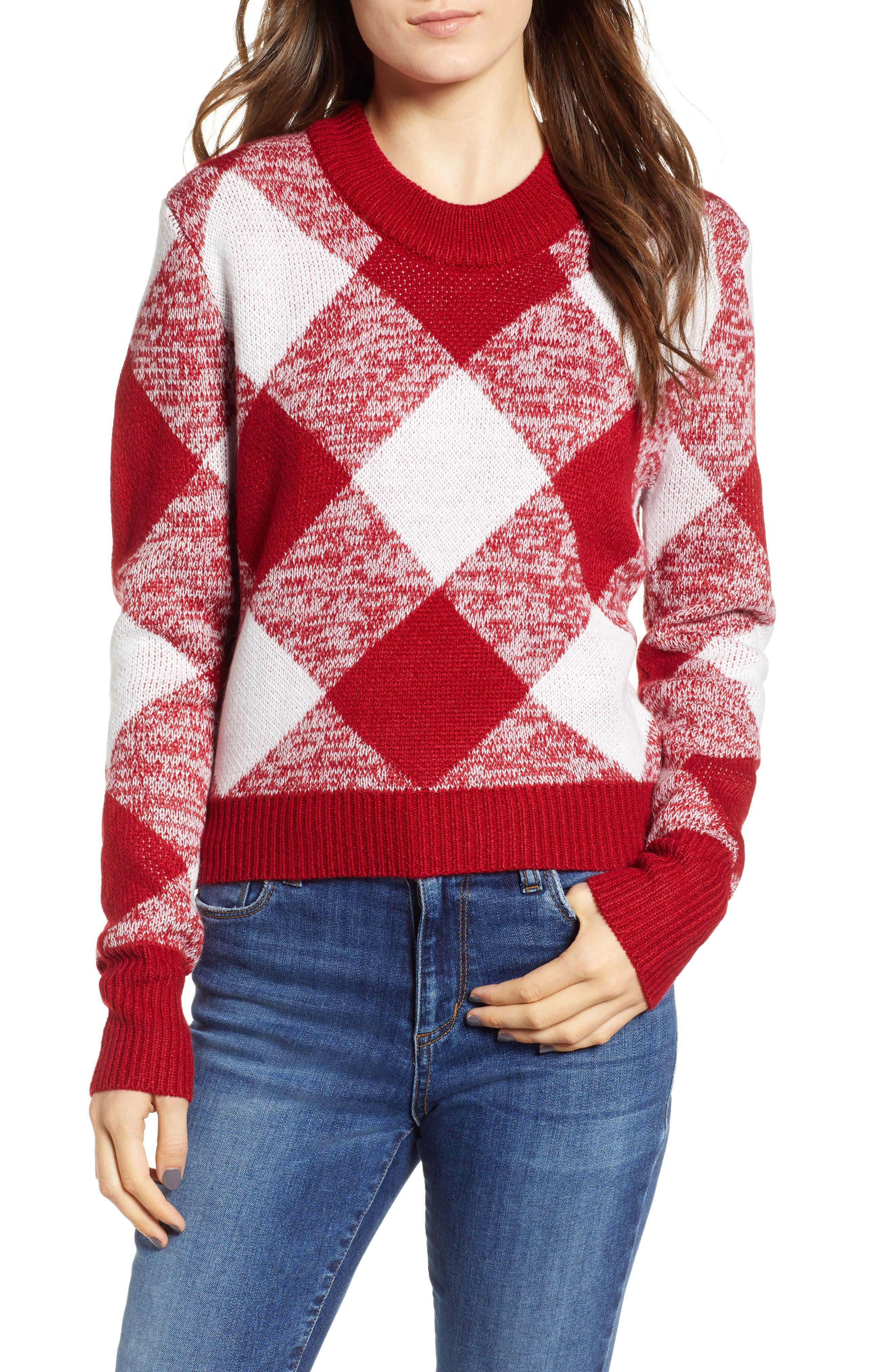 Oversize Gingham Knit Sweater in Red/White