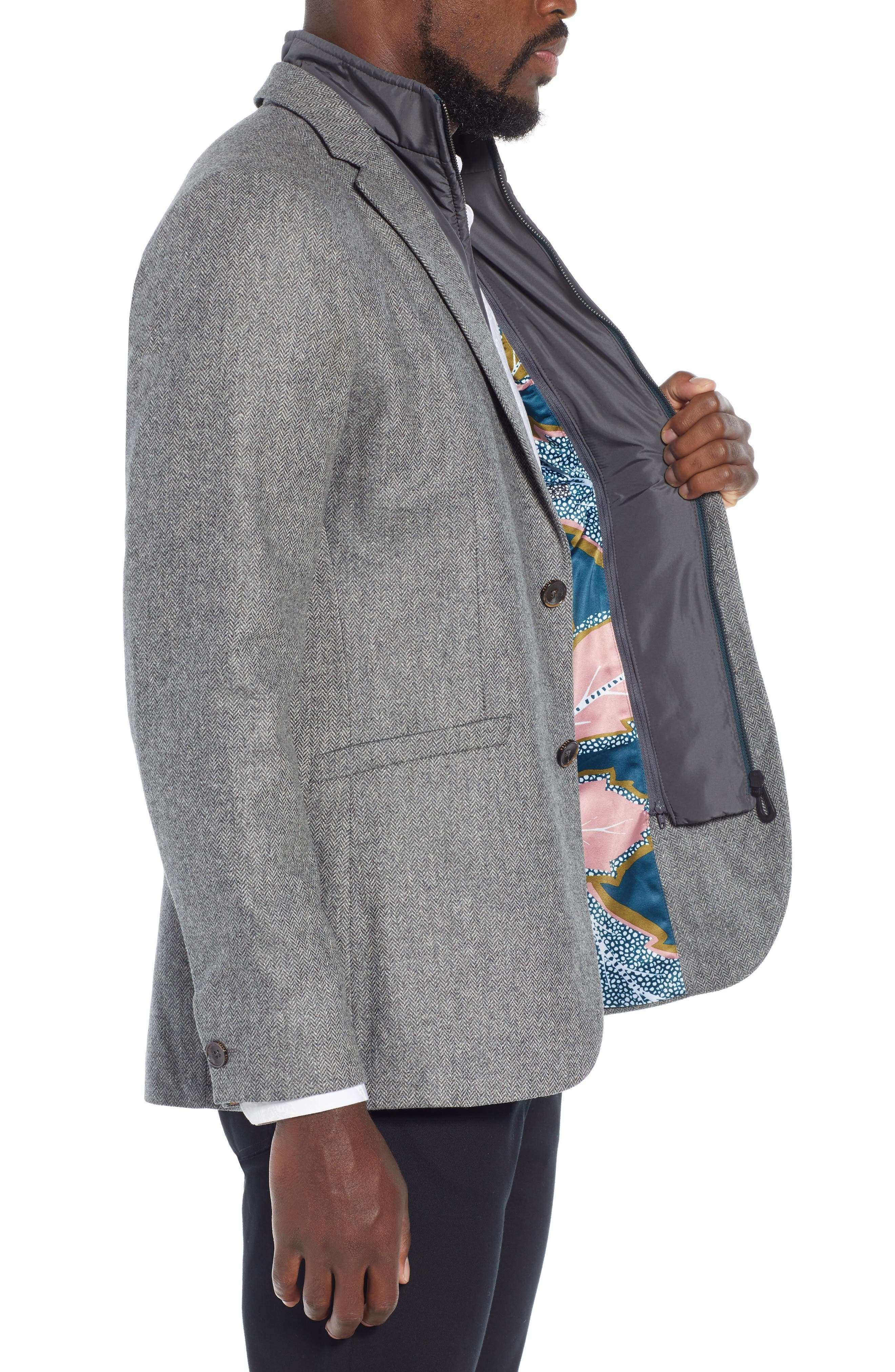 Dual Look Herringbone Jacket,                             Alternate thumbnail 3, color,                             LIGHT GREY